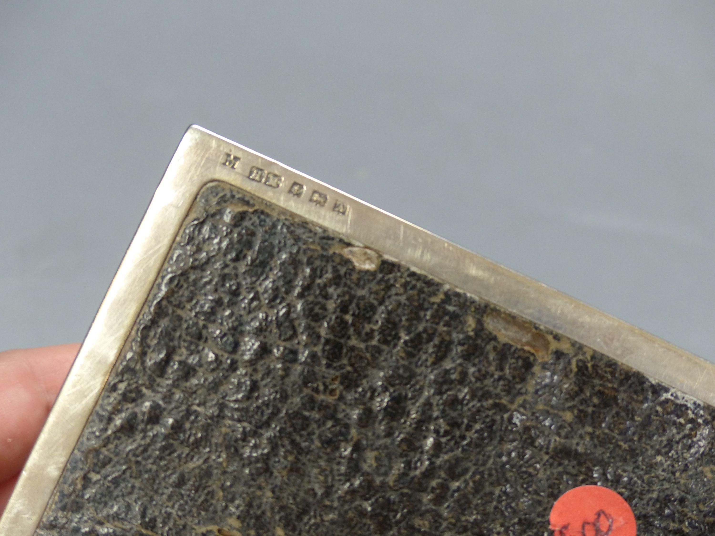 A George V silver mounted rectangular cigarette box, Birmingham, 1925, 16.6cm. - Image 5 of 6
