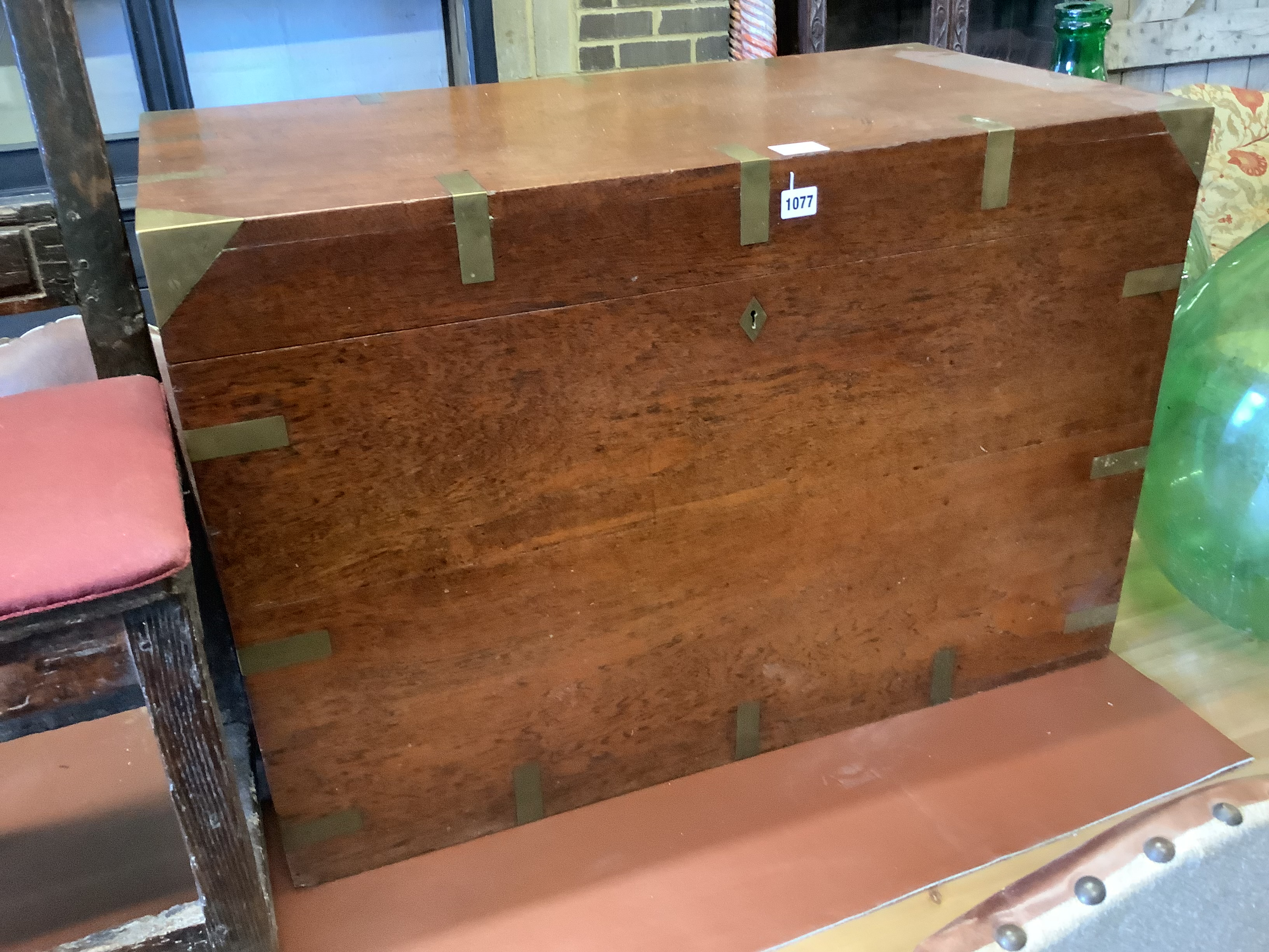 A Victorian brass bound camphorwood trunk, length 71cm, depth 48cm, height 61cm