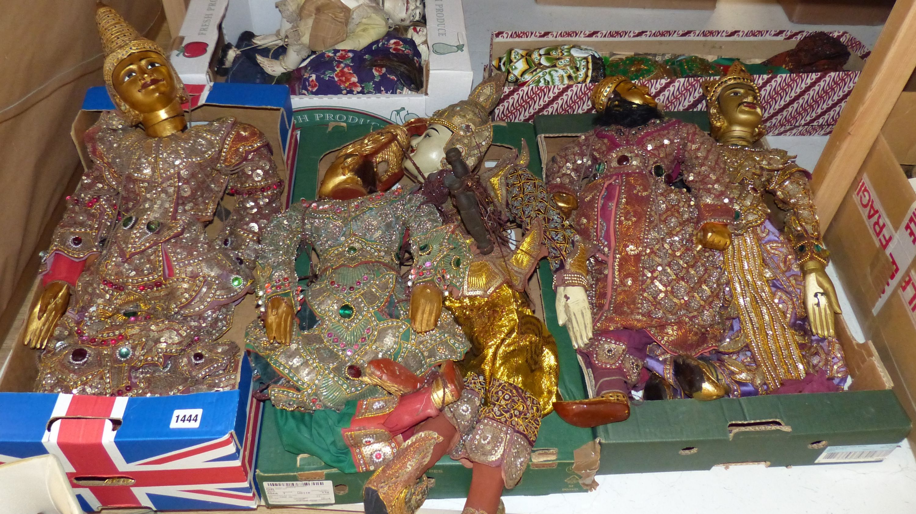 A quantity of Indonesian marionettes