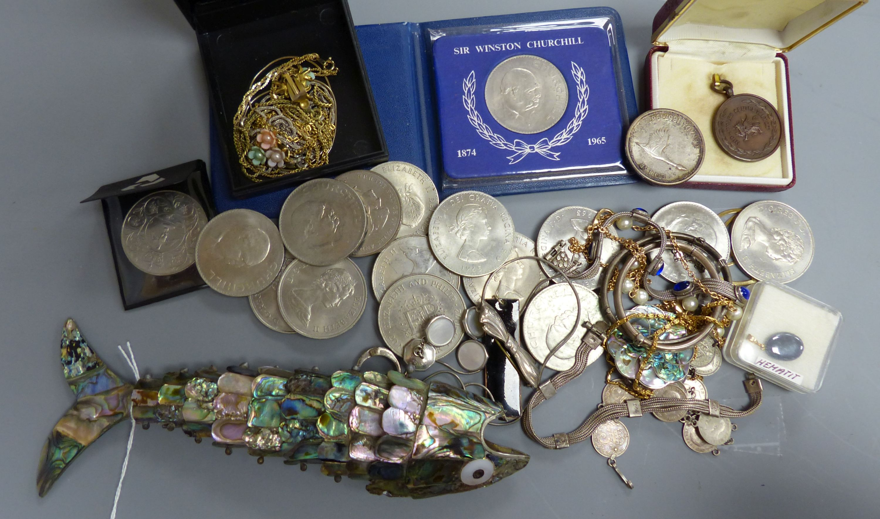 A quantity of mixed costume jewellery, an articulated fish, coins etc