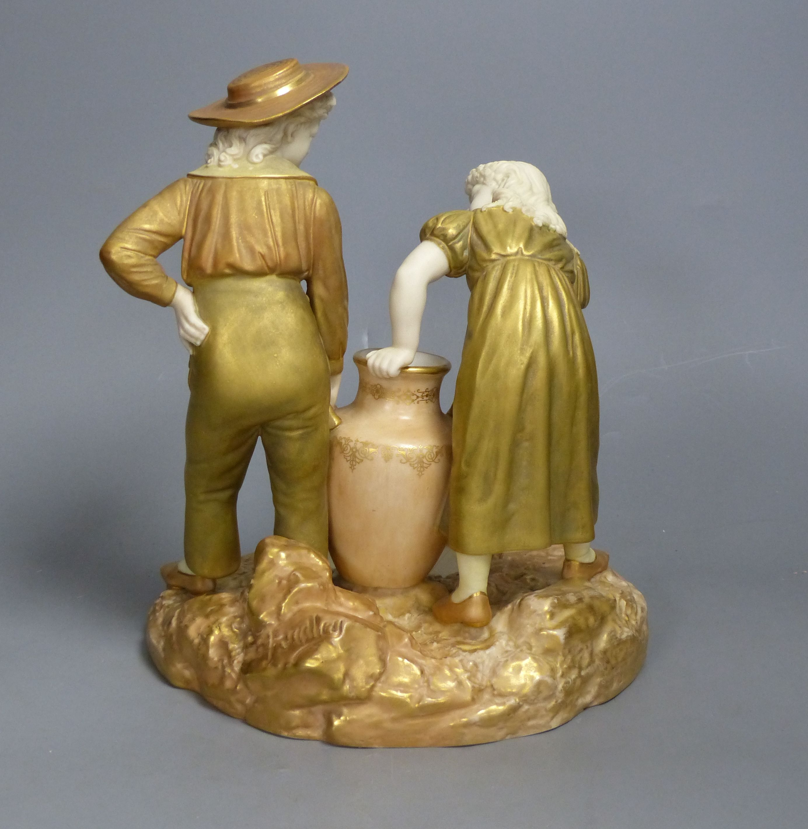 A Royal Worcester group of a boy and a girl, date code for 1917, height 24cm - Image 2 of 4