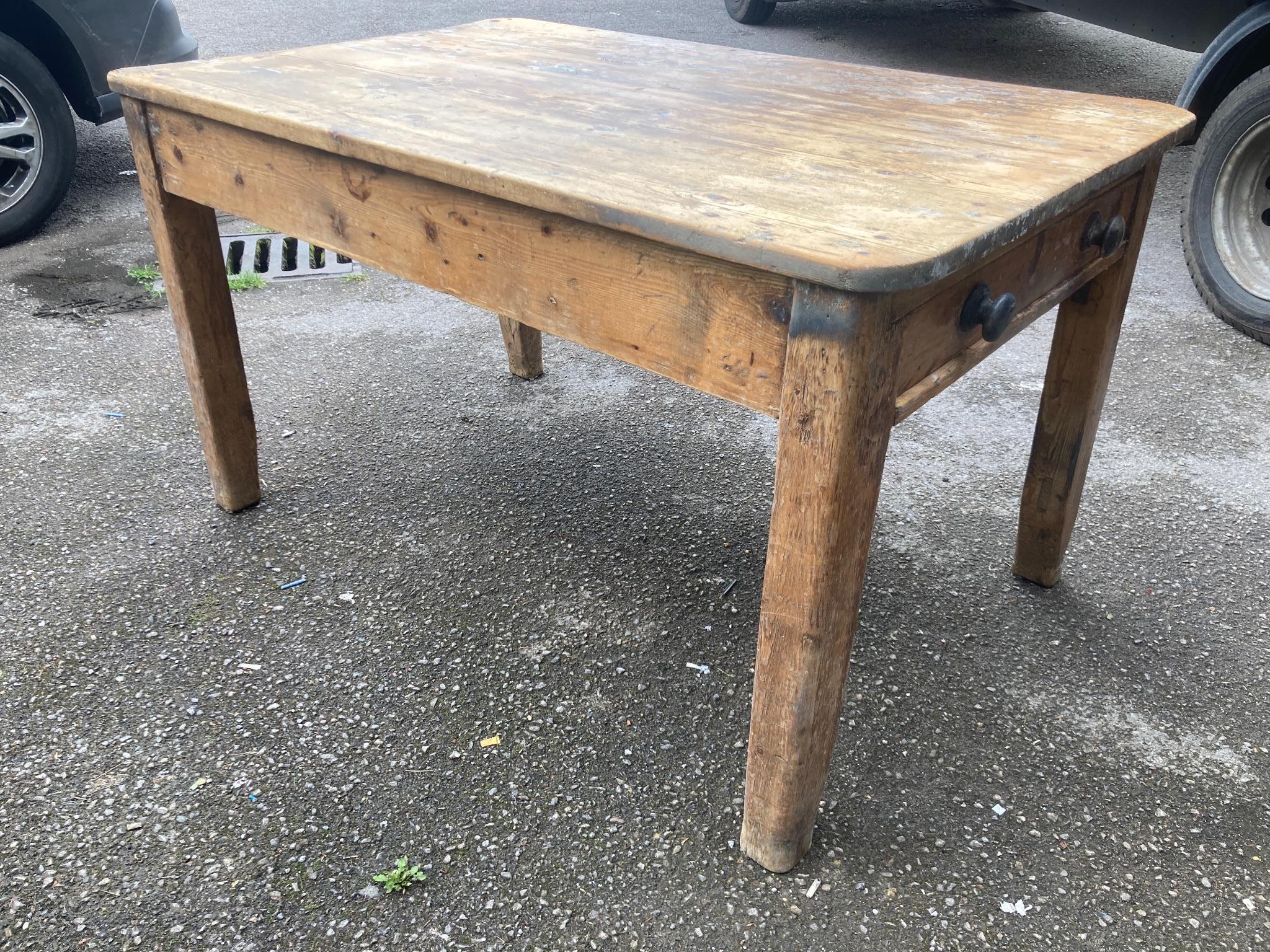 A Victorian rectangular pine kitchen table, width 132cm, depth 82cm, height 75cm