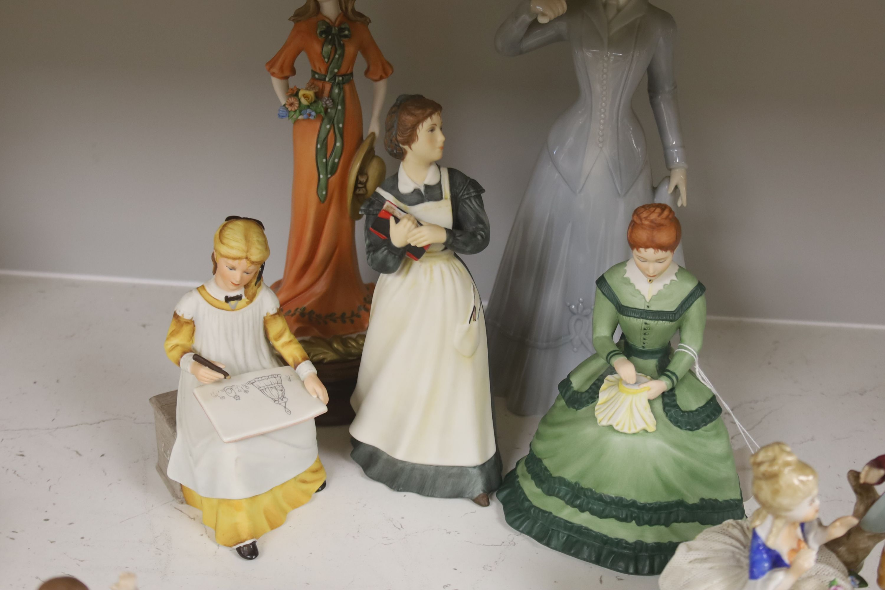 A German porcelain group of two children by a tree stump, on rocky base, two 'crinoline' figures - Image 5 of 6