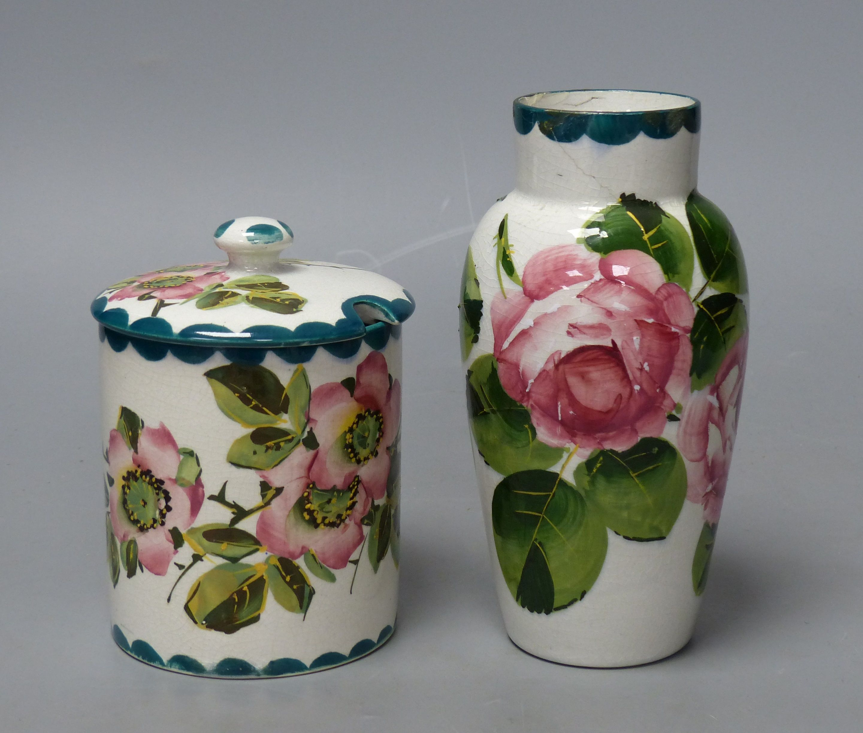 A Wemyss cabbage rose vase and an apple blossom sugar pot, tallest 16cm