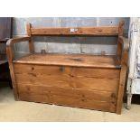 A Victorian stripped pine box settle, length 111cm, depth 45cm, height 78cm