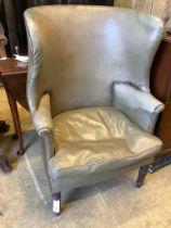 A Regency tub framed wing armchair, width 74cm, depth 53cm, height 111cm