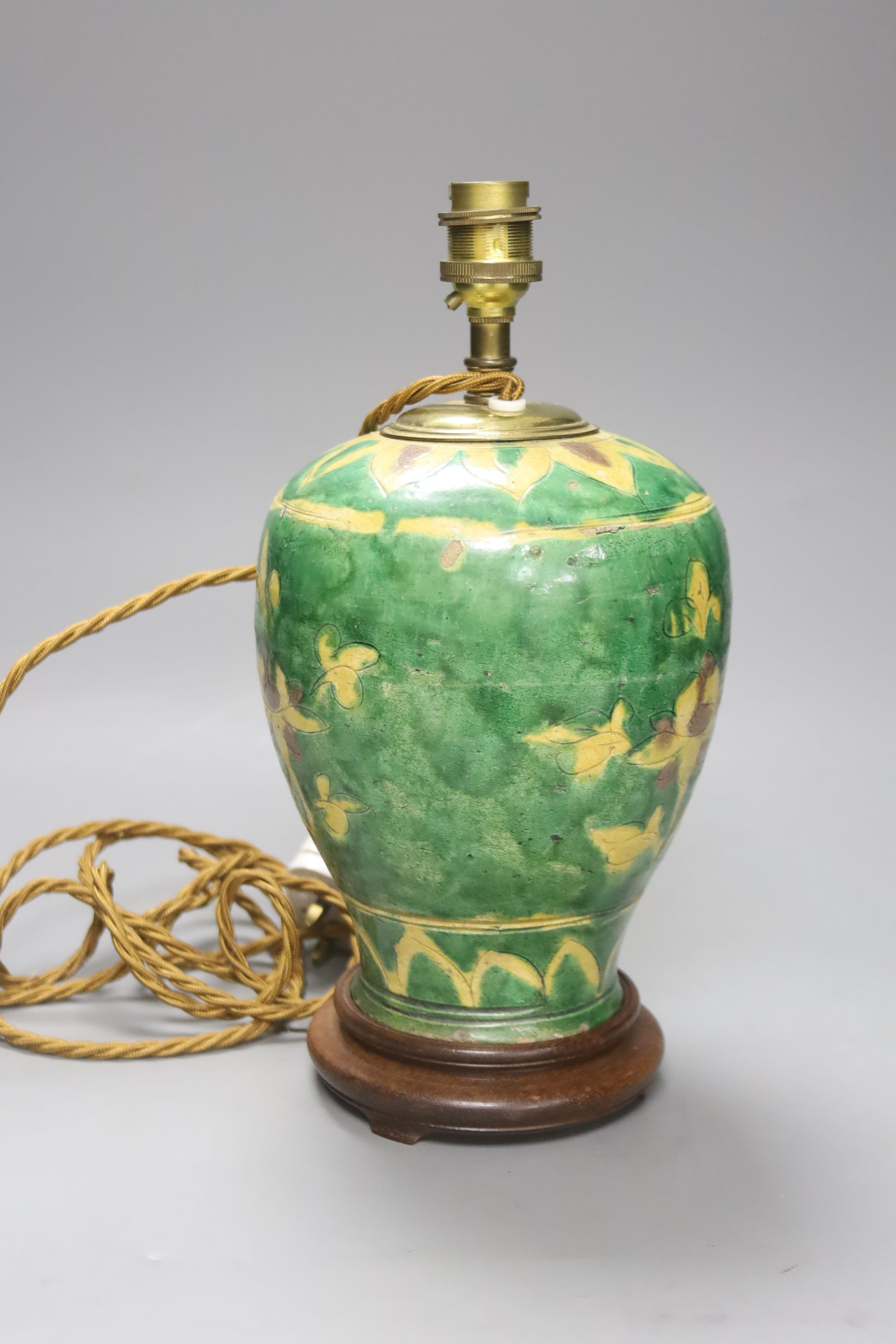 A Chinese sancai jar, Ming dynasty, mounted as a lamp, overall 30cm - Image 2 of 3
