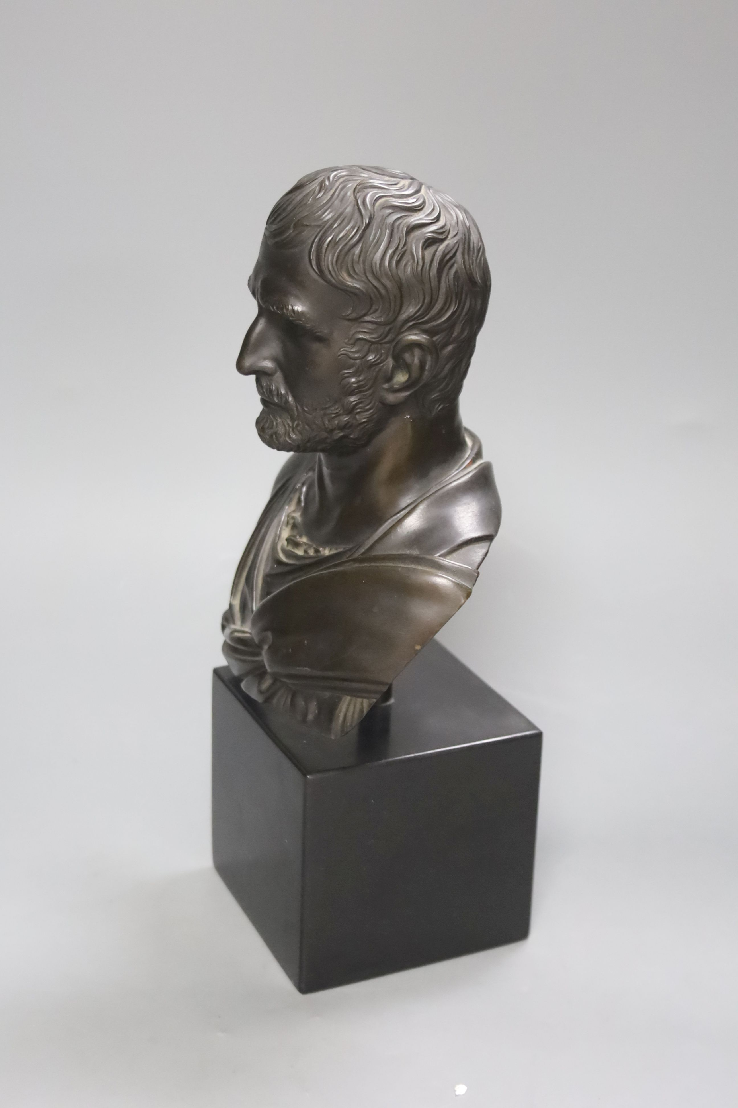 A bronze bust of a Roman Emperor, height 30cm - Image 2 of 3
