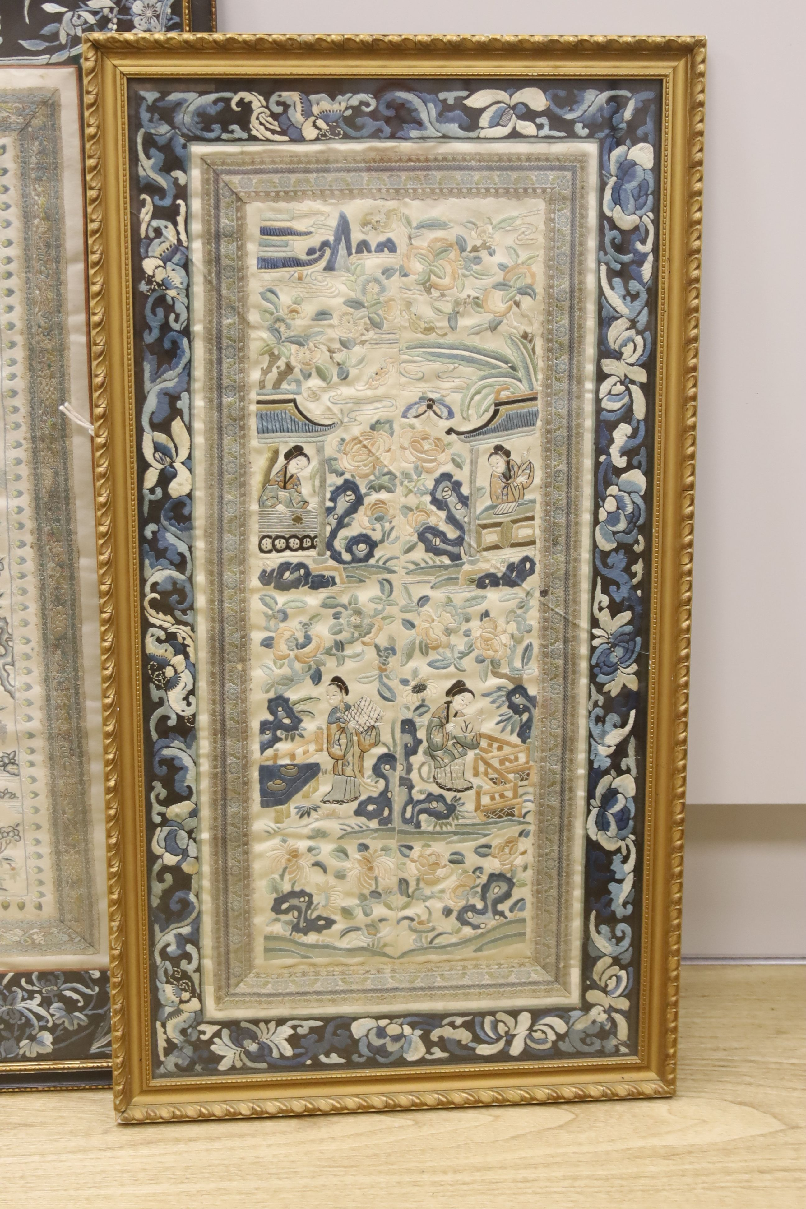 Two framed Chinese late Qing embroidered silk panels71 x 39cm & 62 x 32cm - Image 3 of 3