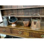A Victorian copper coal scuttle, milk pail and two others