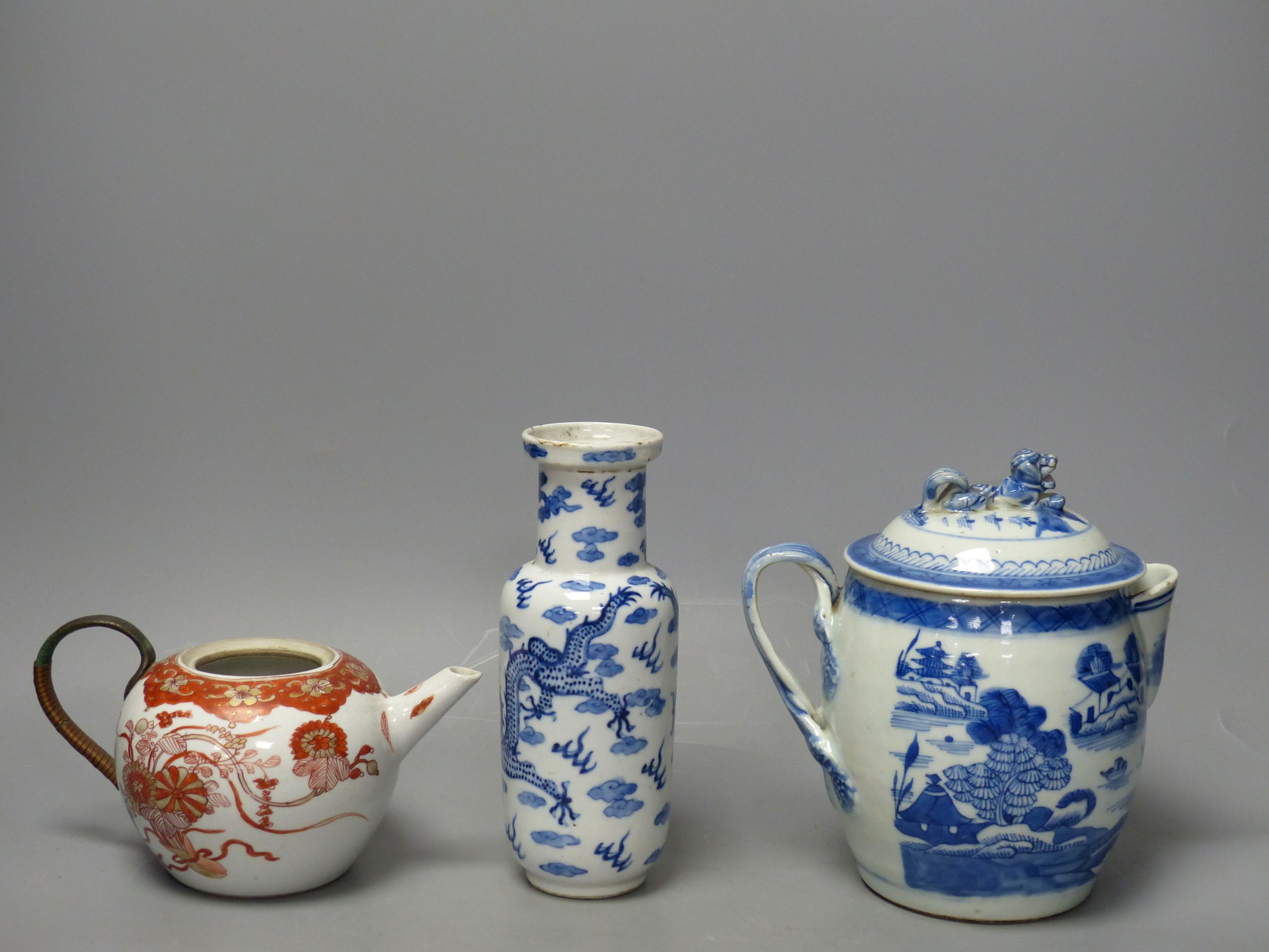 A 19th century Chinese blue and white covered jug, an early 20th century blue and white vase and a - Image 3 of 6