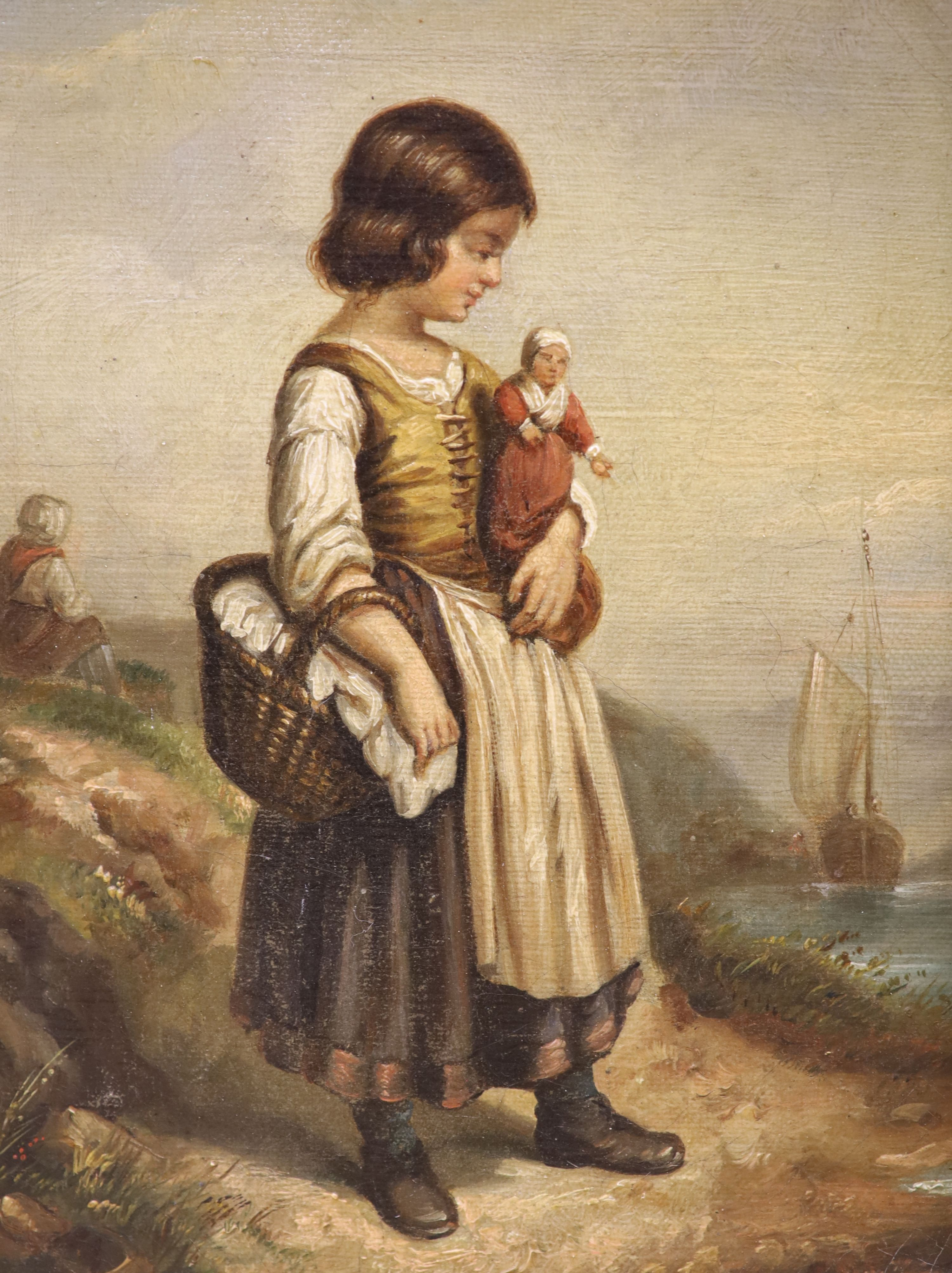19th century French School, oil on canvas, Girl holding a doll standing upon the seashore, 21 x