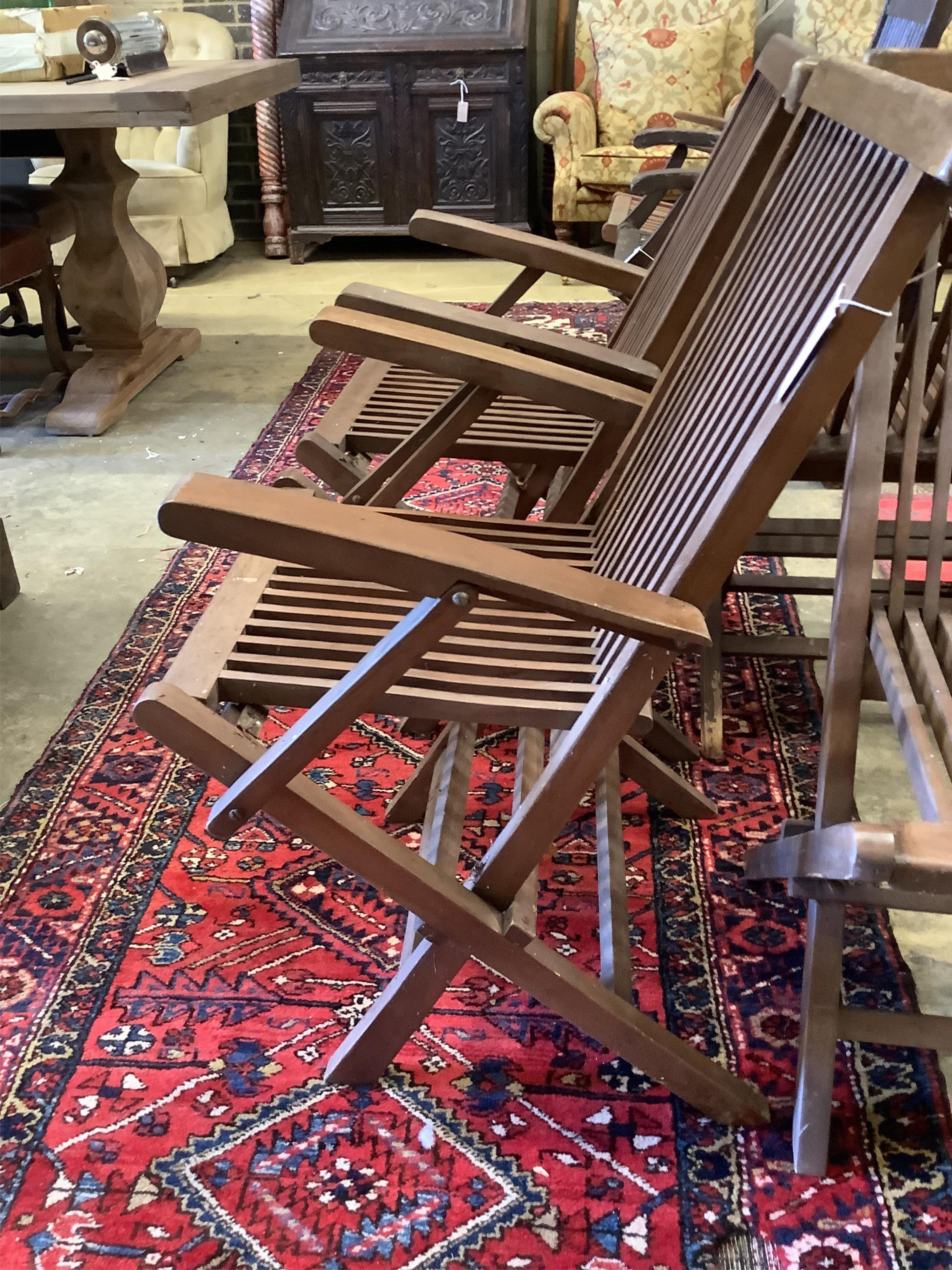 A set of eight teak folding garden chairs (two with arms) - Image 3 of 5