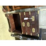 A military style brass mounted side cabinet, width 46cm, depth 46cm, height 71cm