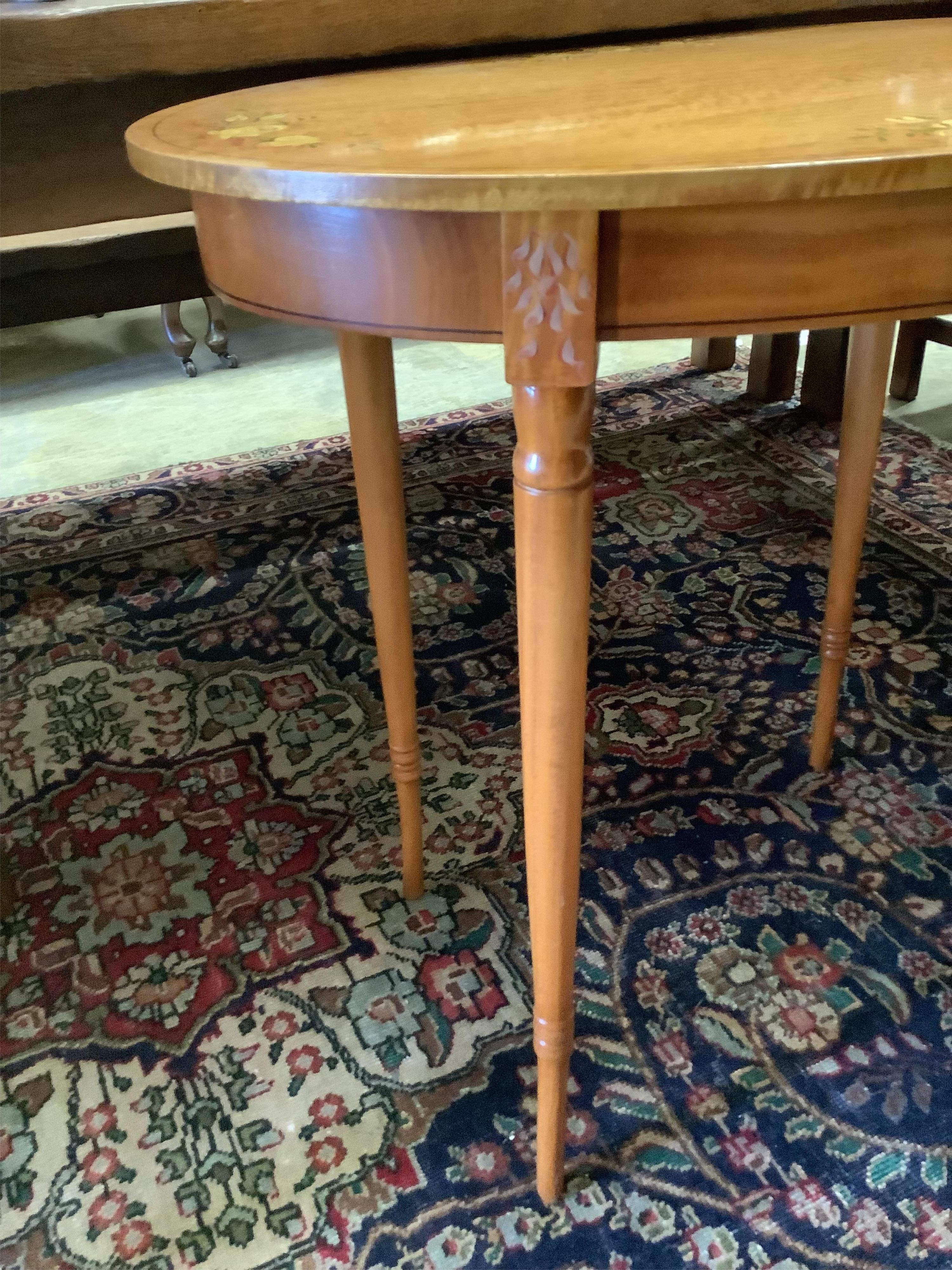 A painted oval satinwood occasional table, width 74cm, depth 51cm, height 70cm - Image 3 of 3