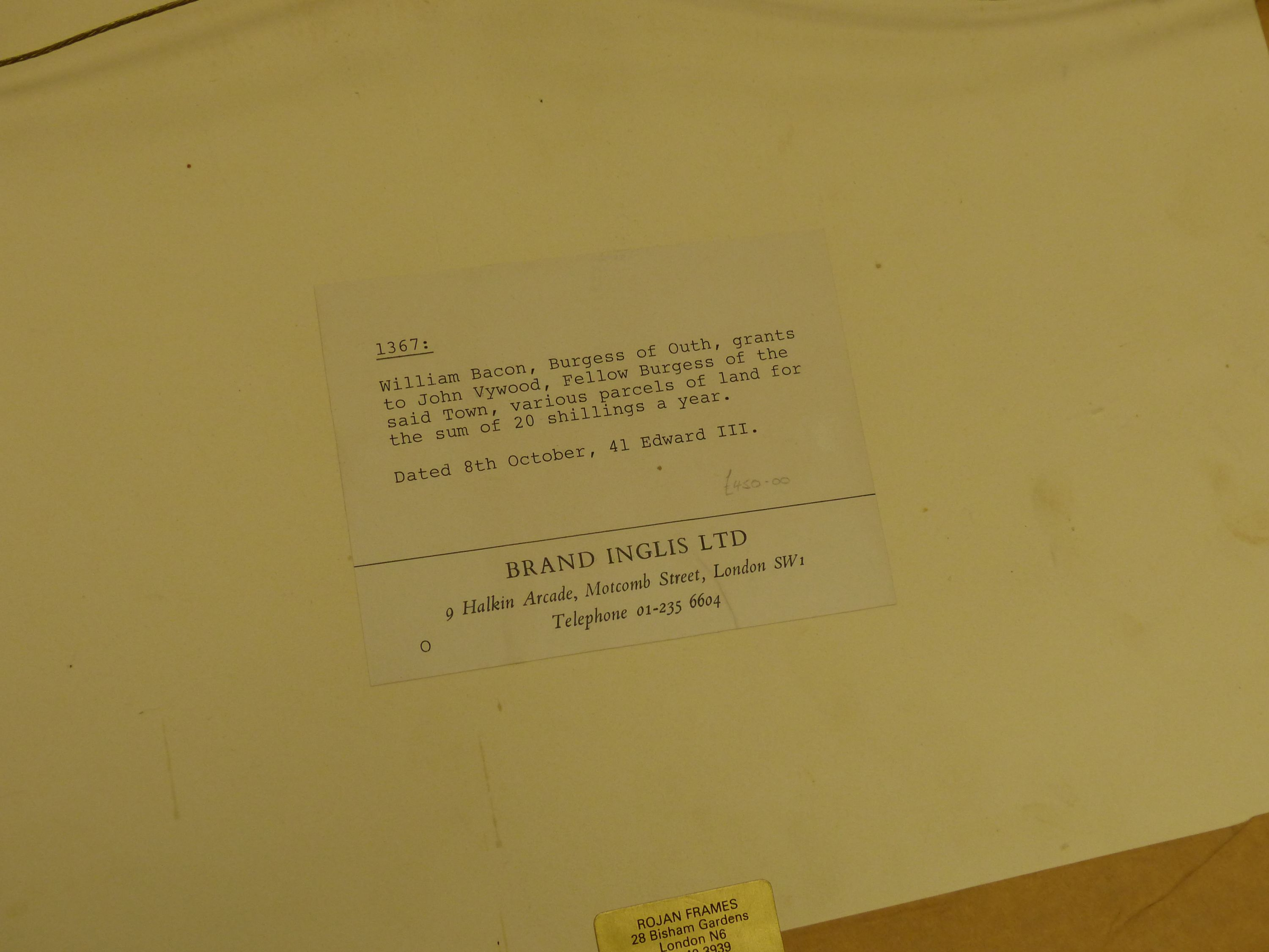 Two early deeds, framed,comprising 'William Bluet, Lord of Lachan, witnessed by Robert Witchampton, - Image 4 of 4