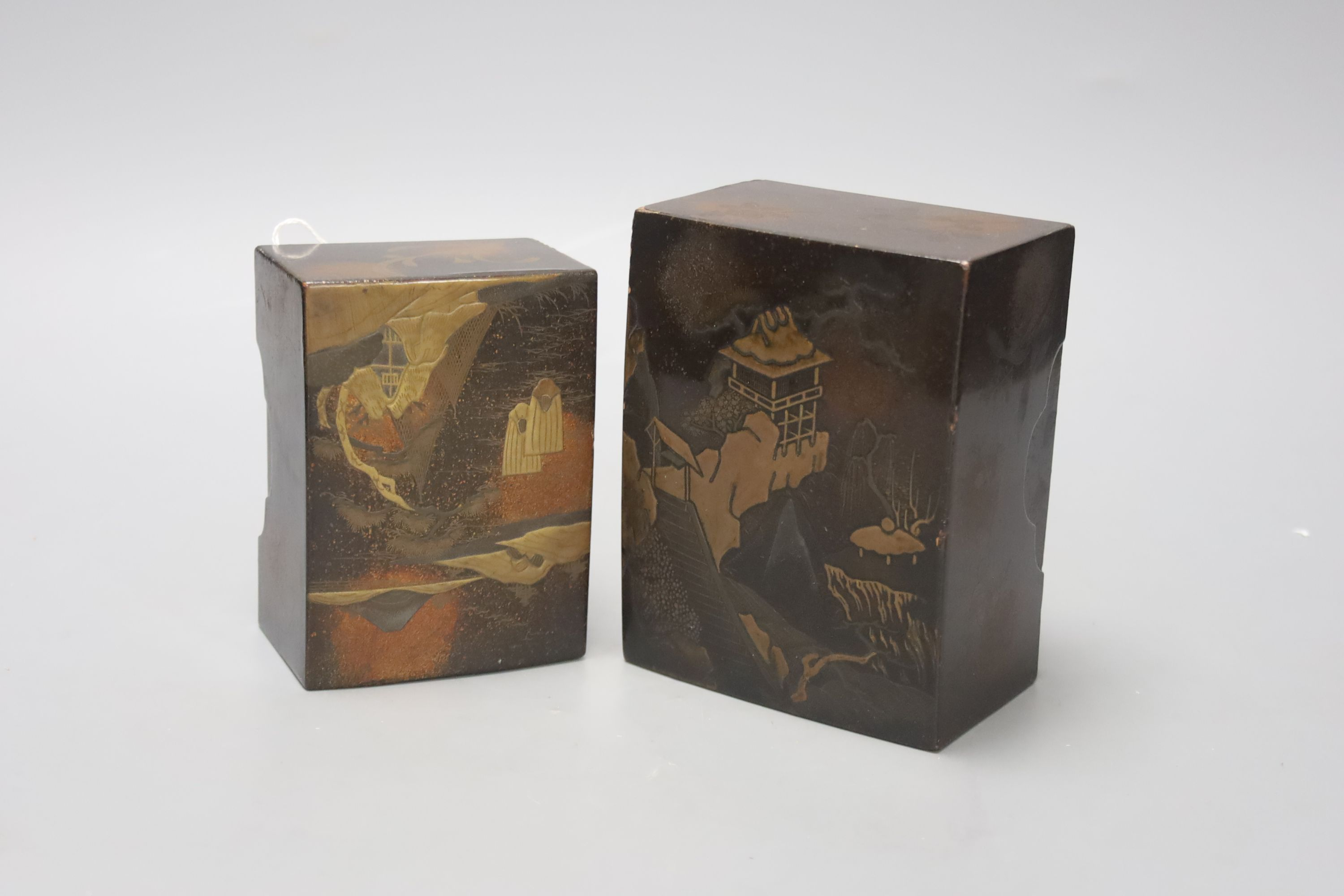 Two Japanese lacquer boxes, 19th century, largest 13.5cm