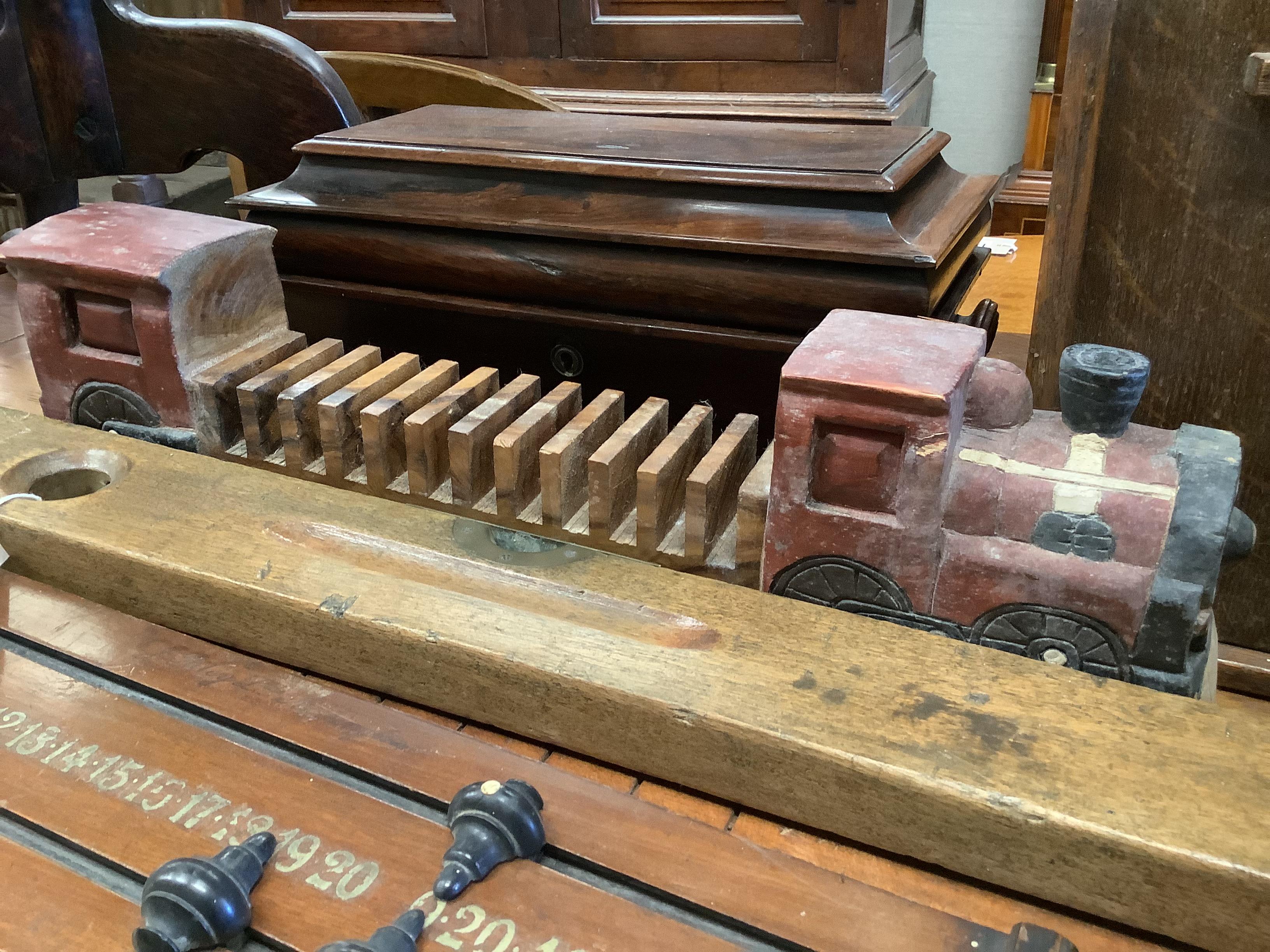 A Shove Ha'penny board, a Preston & Sons brass-mounted spirit level, a Riley's billiards scoreboard - Image 4 of 4