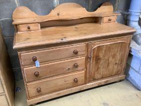 A Victorian pale pine low dresser, width 136cm, depth 51cm, height 104cm