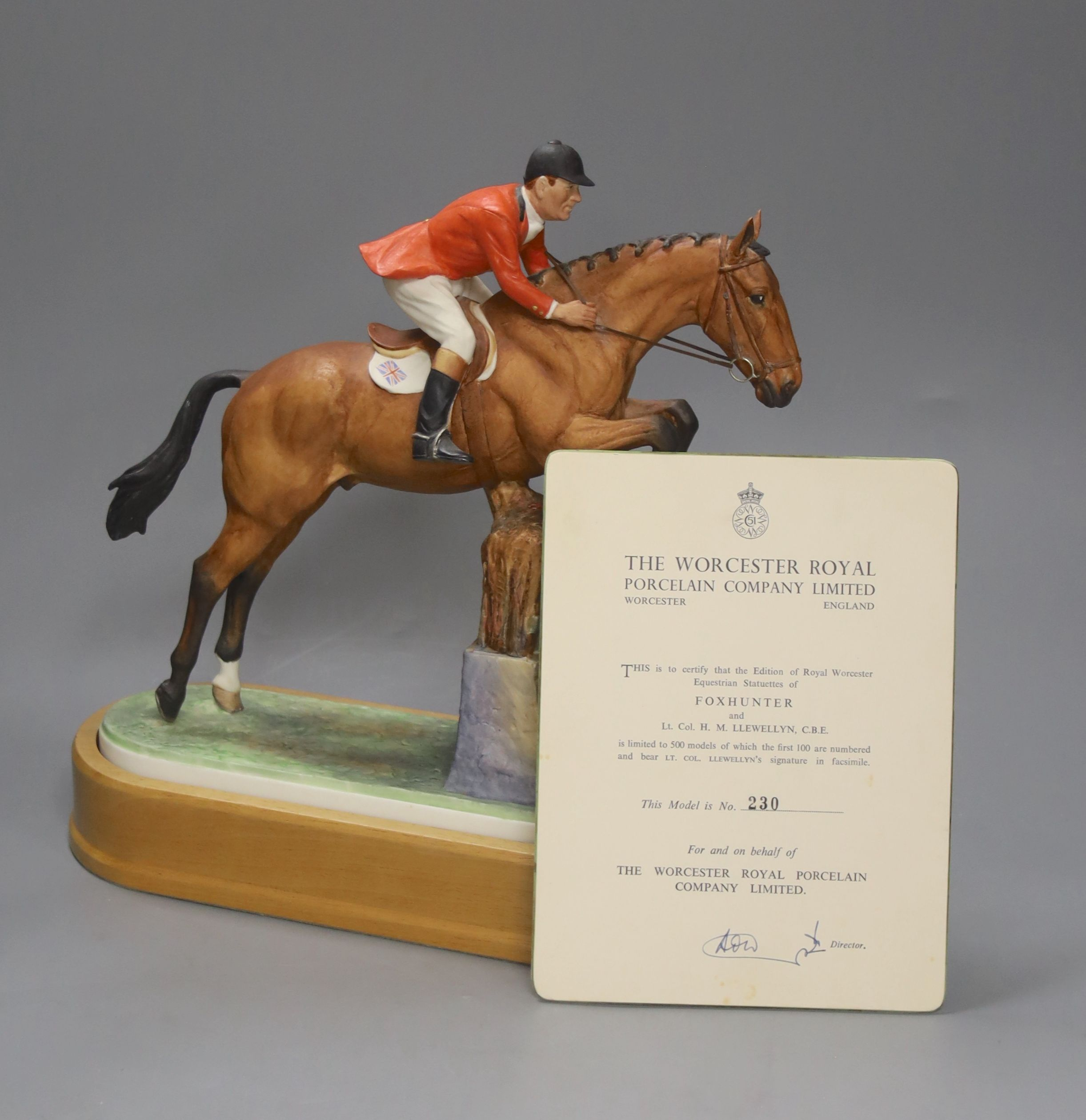 Doris Lindner for Royal Worcester, a limited edition figure, 'Foxhunter and Lt. Col. H M Llewellyn