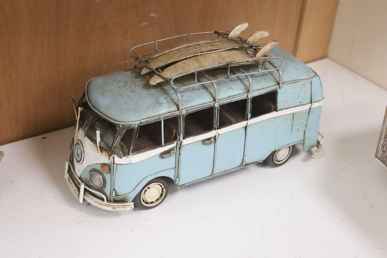 A model of a VW Camper van, a Lambretta and a 1950s Cadalac - Image 2 of 4