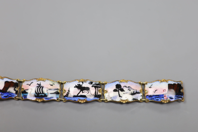 A 20th century Norwegian 830S and polychrome enamel panel set bracelet, 18.5cm,gross 28 grams. - Image 3 of 6