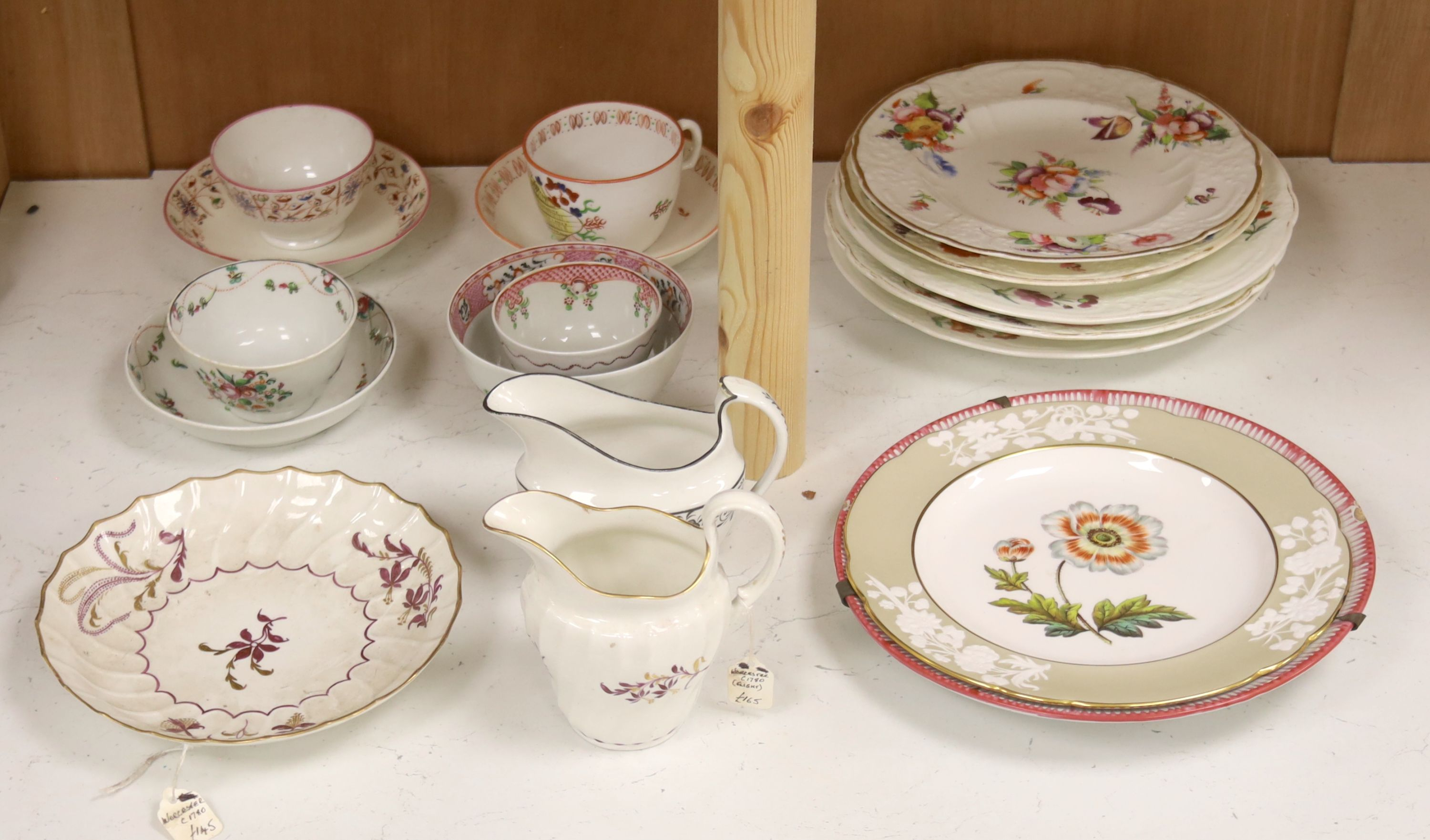 A group of late 18th / early 19th century English porcelain teaware and plates,together with a