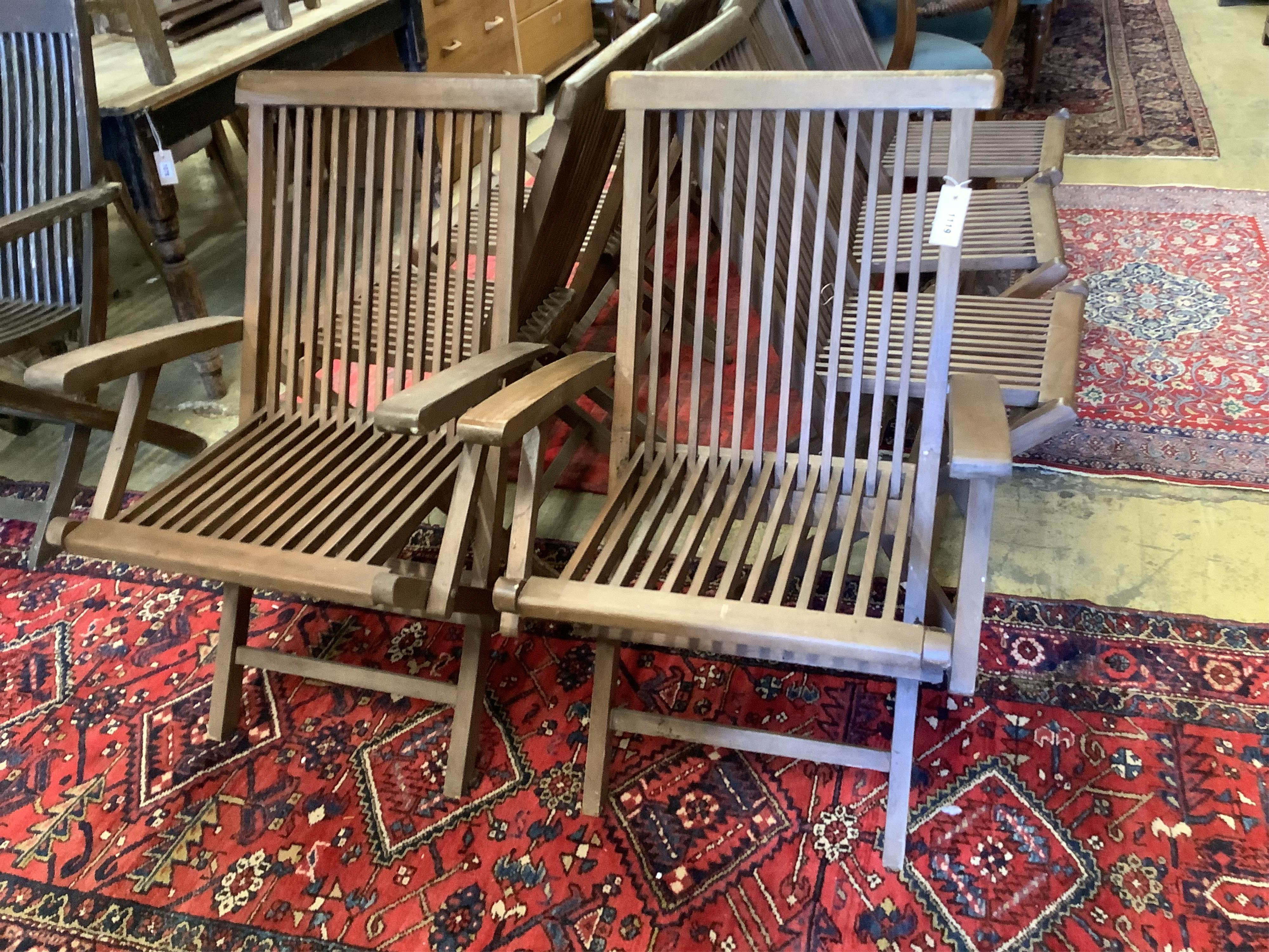 A set of eight teak folding garden chairs (two with arms) - Image 4 of 5