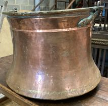 A large Eastern copper and brass cauldron, diameter 46cm, height 38cm