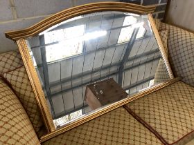 A reproduction gilt overmantel mirror, width 122cm, height 77cm