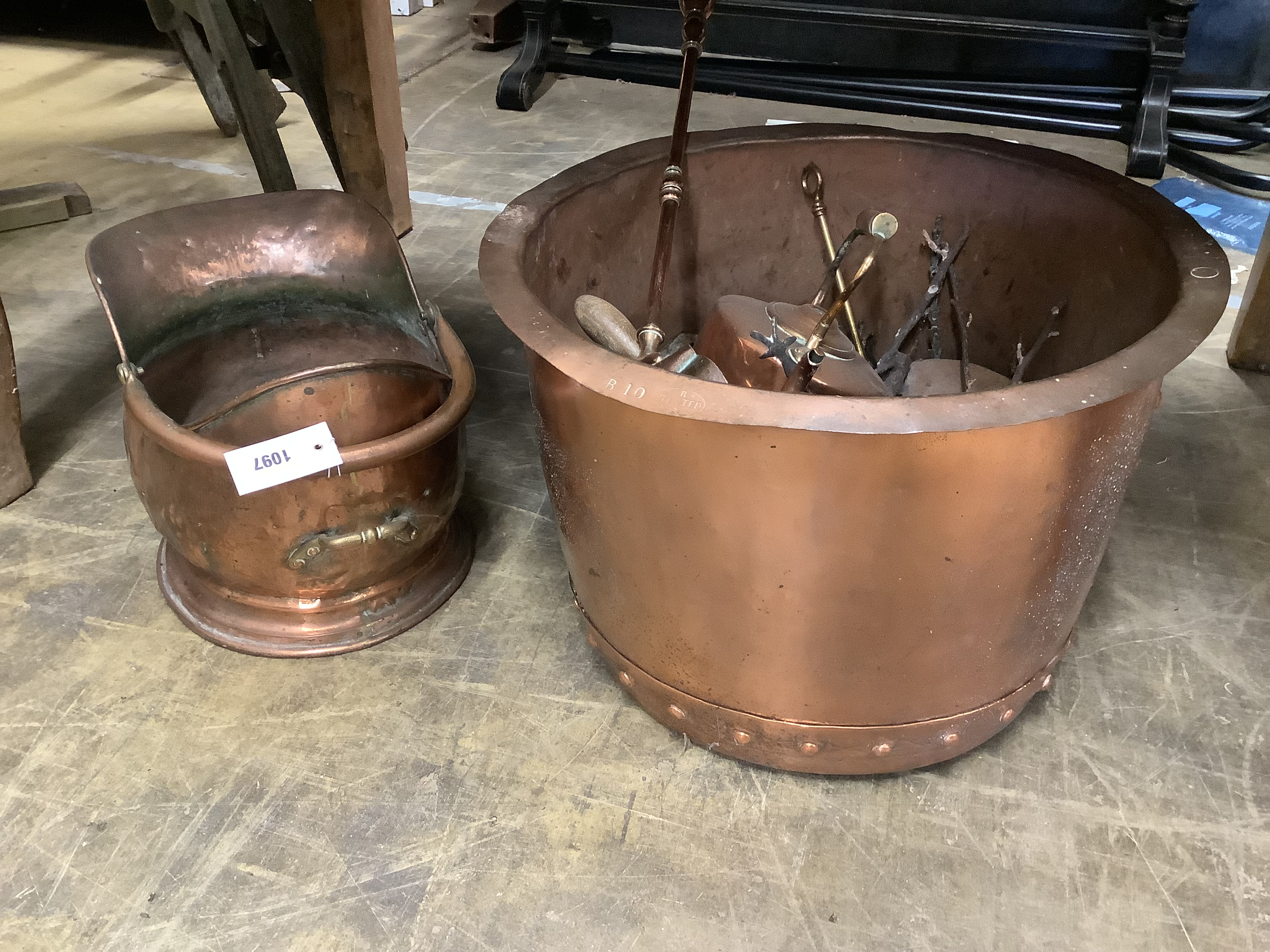 A Victorian copper copper, 49cm diameter, coal scuttle, kettle and assorted implements