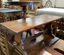 A circular mahogany occasional table on tripod base, diameter 60cm, height 70cm together with a