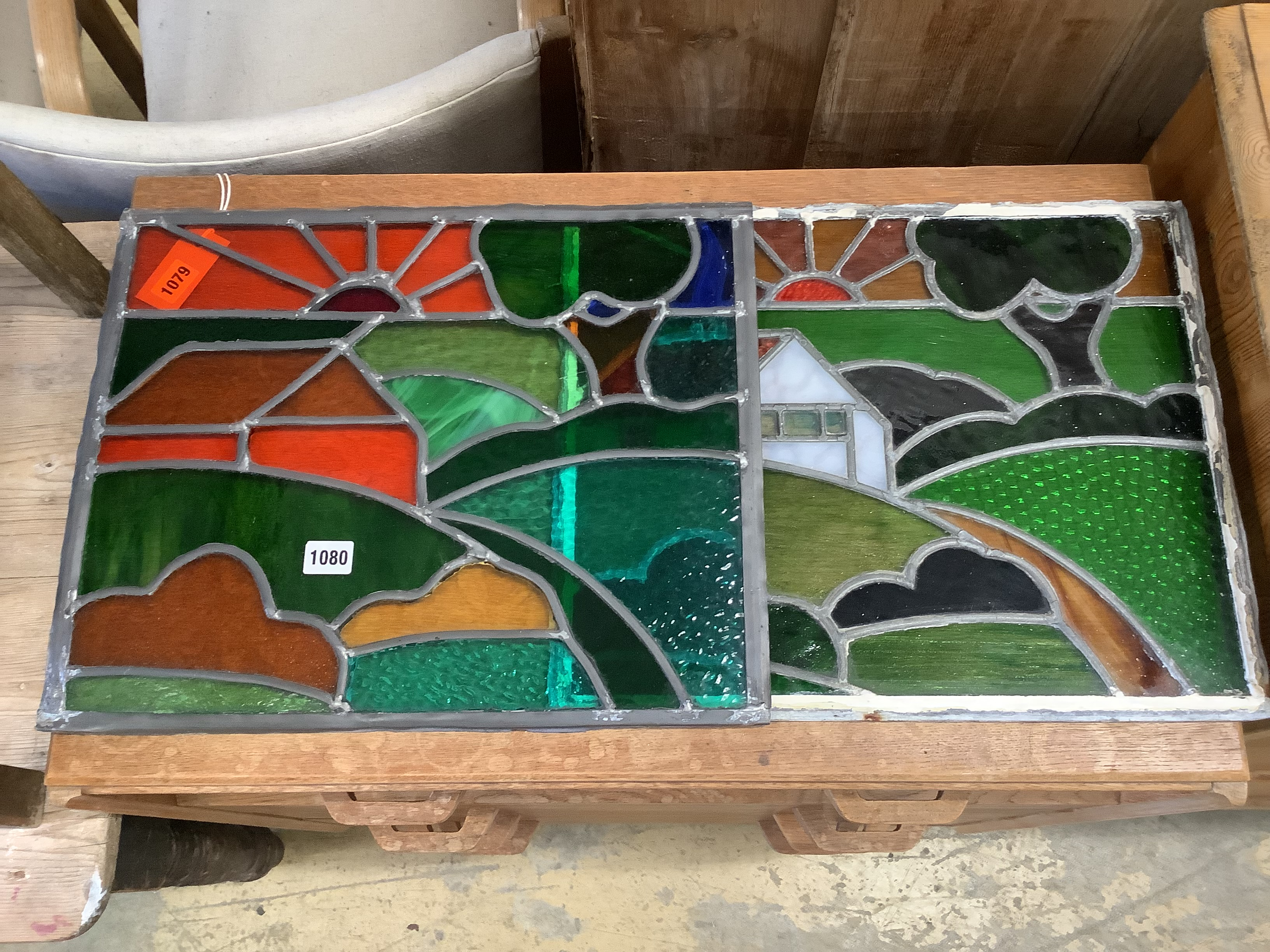 Two leaded stained glass panels, 46 x 38cm