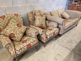 A Victorian style two seater sofa and a pair of armchairs, sofa length 178cm, depth 90cm, height