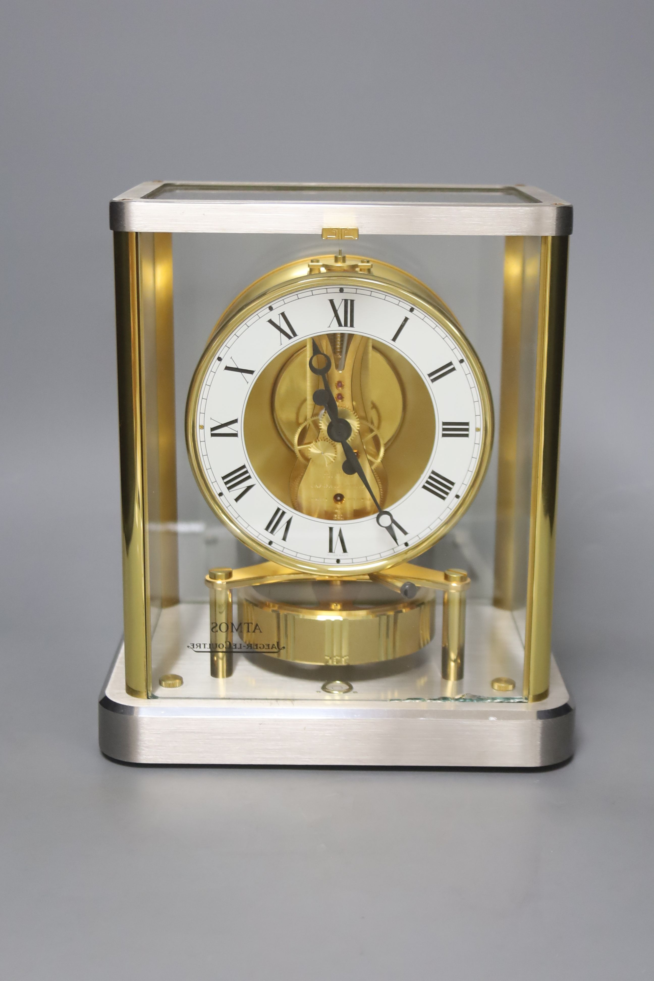 A Jaeger le Coultre Atmos mantel clock, in silvered and gilt metal glazed panelled case, height - Image 2 of 6