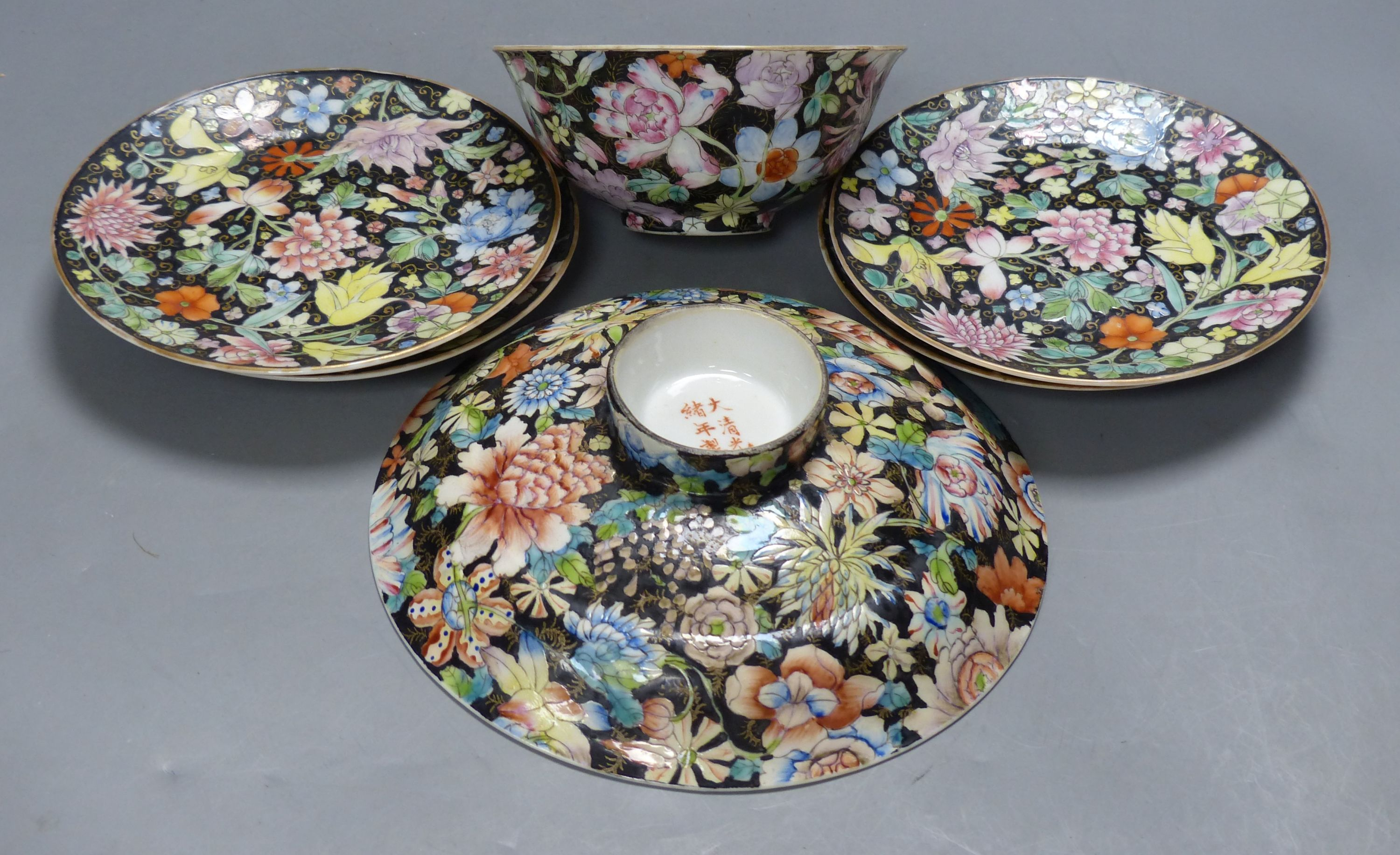 A Chinese millefleur bowl, rice bowl, cover and four plates, Guangxu mark, early 20th century