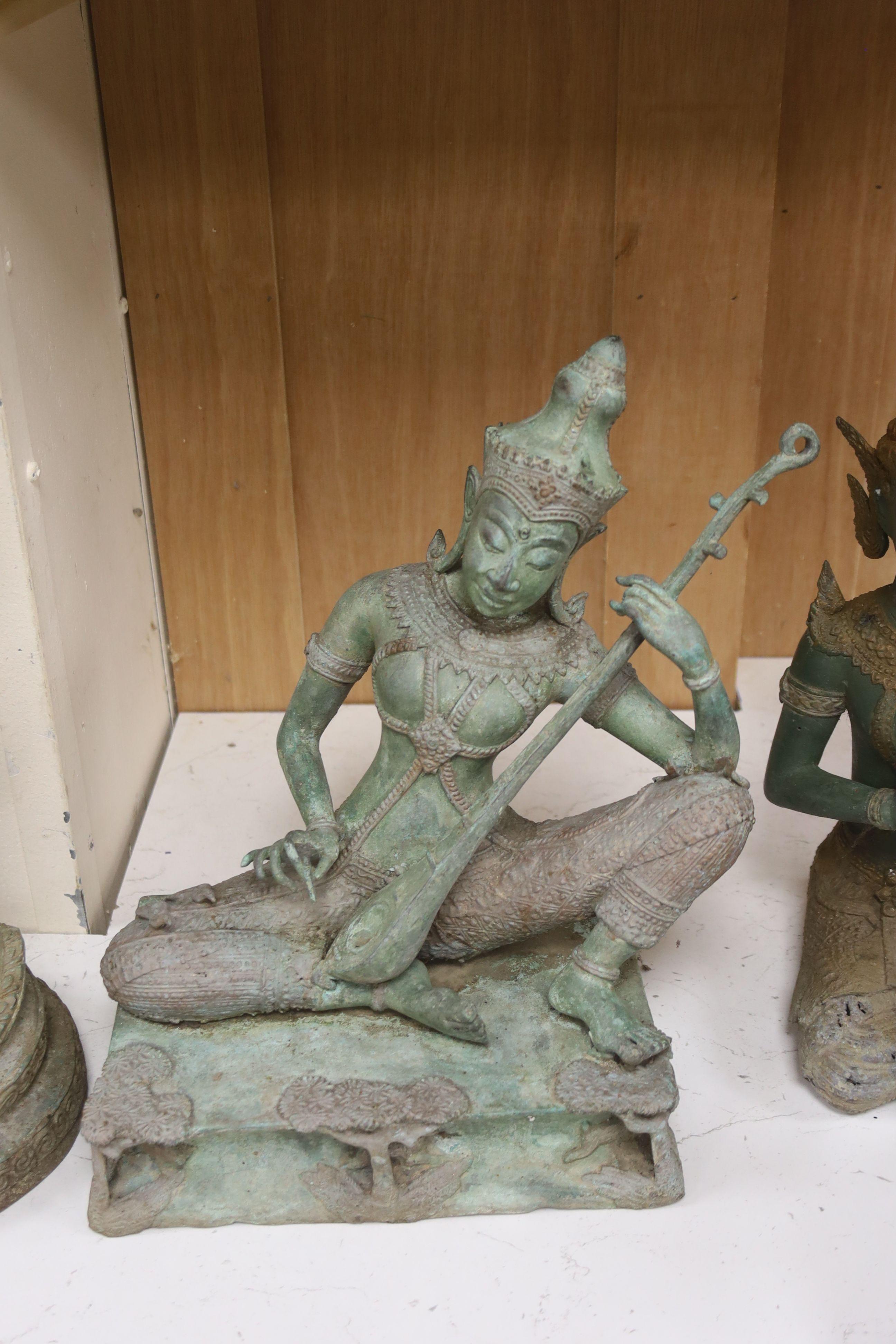 Four 20th century Thai bronze Buddhas, tallest 58cm - Image 3 of 4