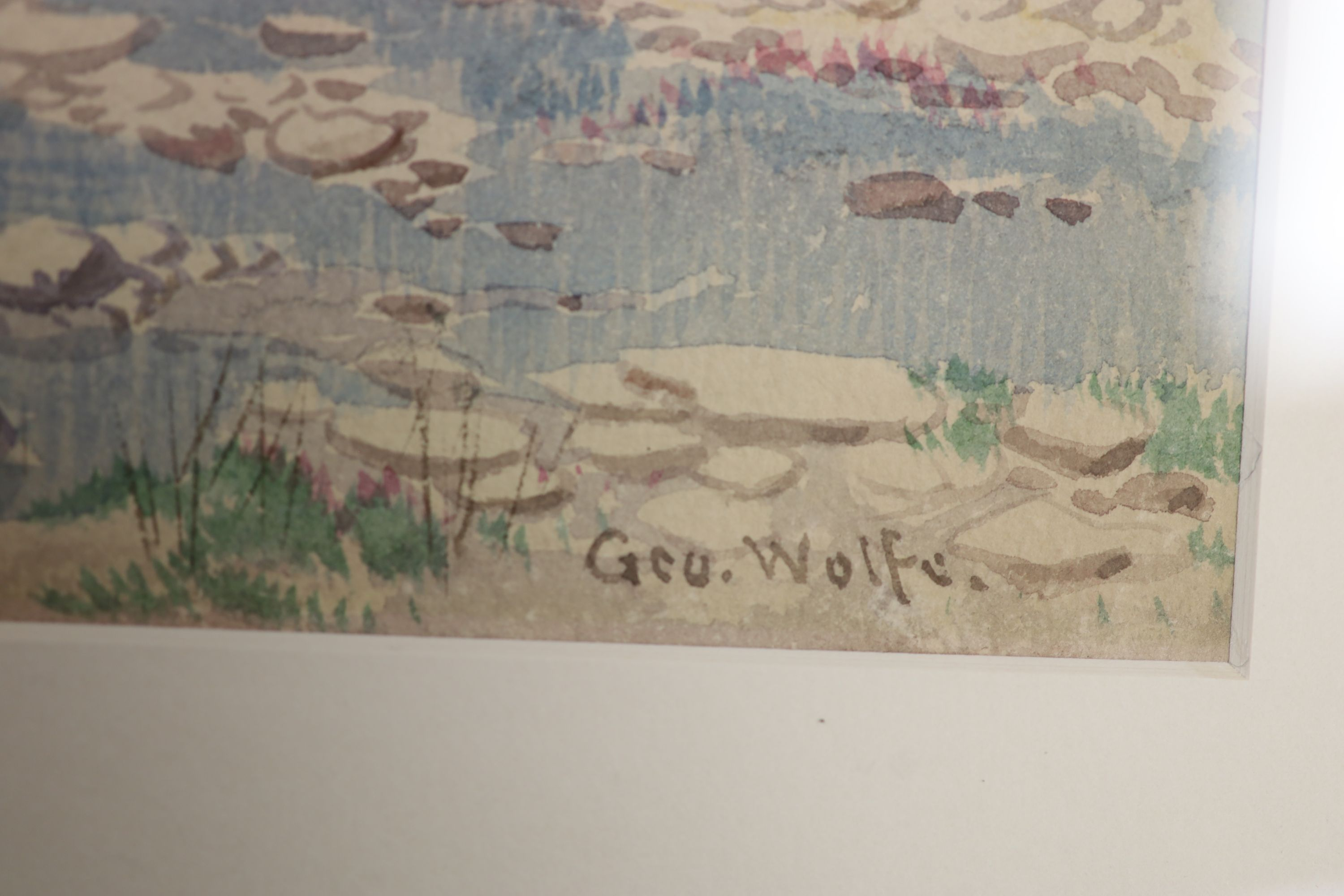 George Wolfe (1834-1890), watercolour, River landscape with weir, signed, 33 x 50cm - Image 3 of 3