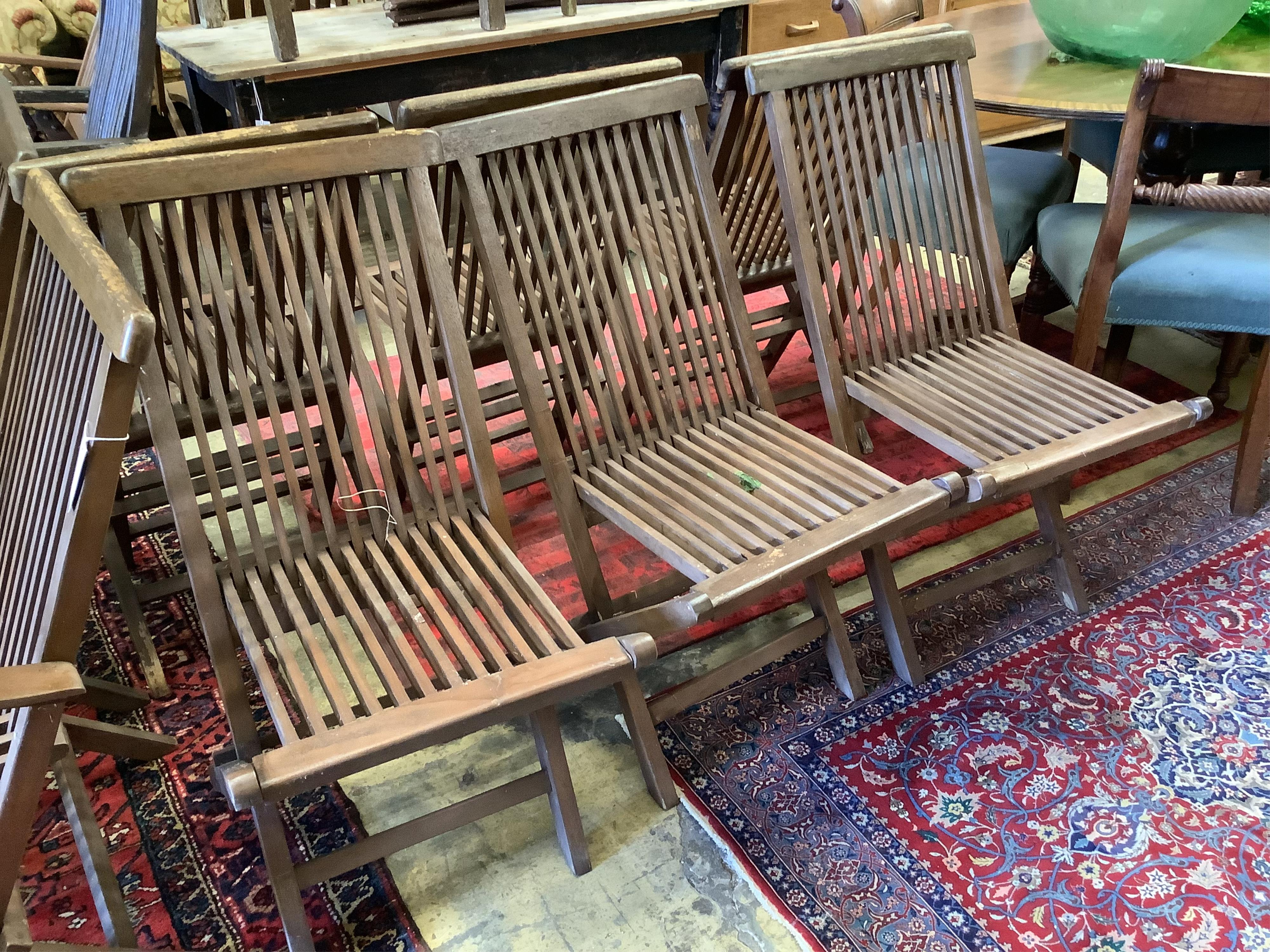 A set of eight teak folding garden chairs (two with arms) - Image 2 of 5