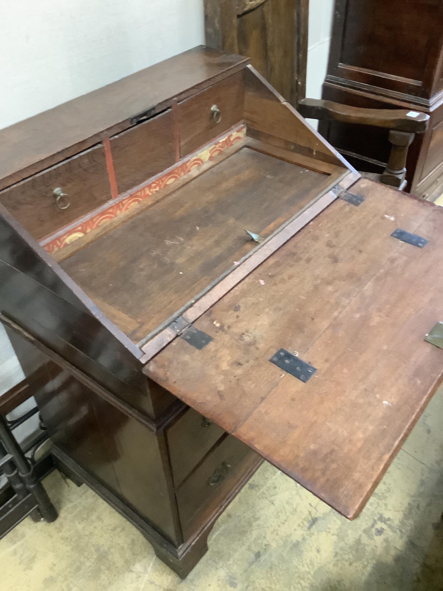 An 18th century oak bureau, width 83cm, depth 85cm, height 112cm - Image 2 of 4
