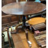 A George III and later circular mahogany tripod tea table, diameter 78cm, height 71cm