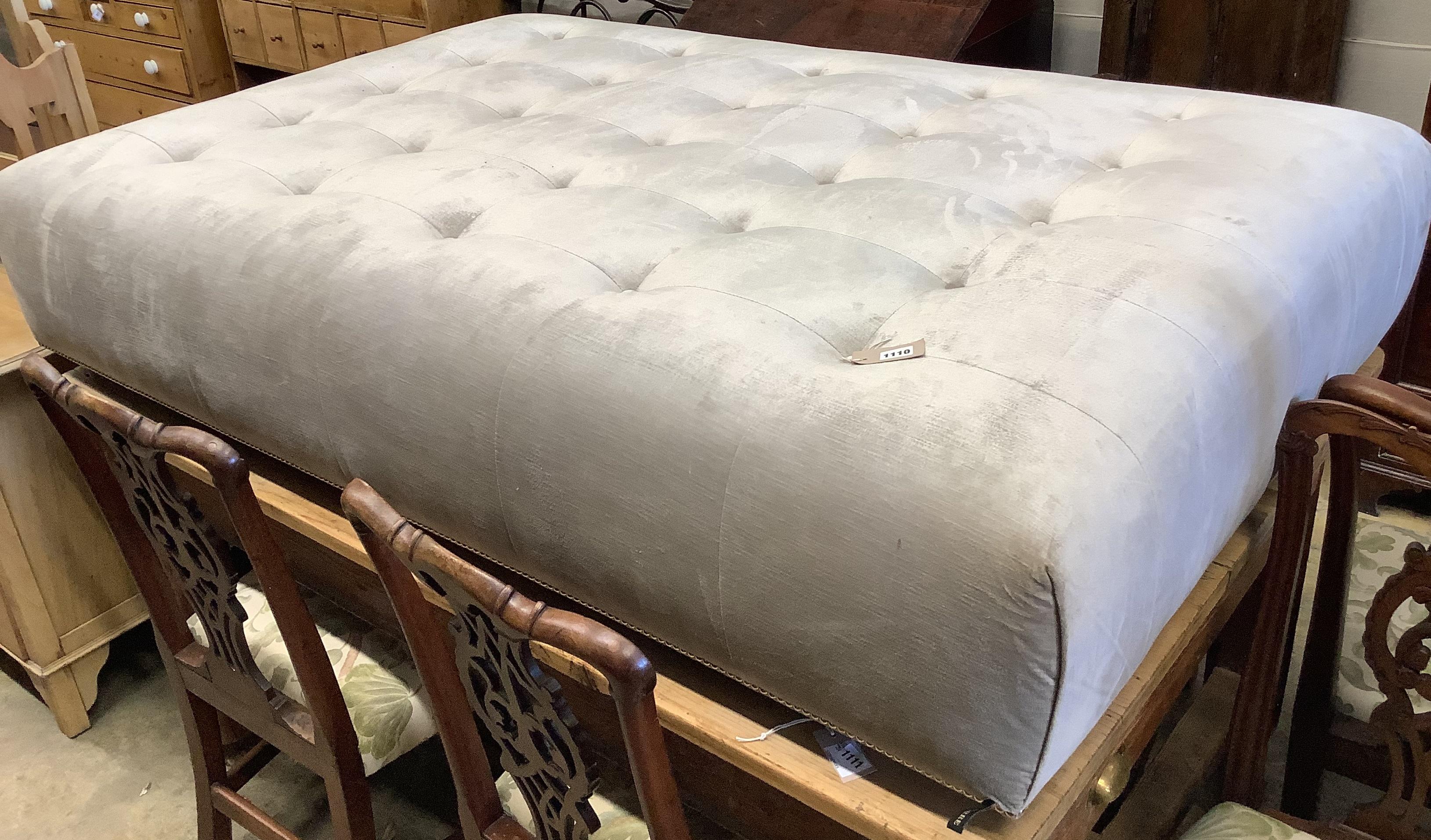 A designer Latorre Furniture large rectangular upholstered footstool, length 175cm, depth 110cm,