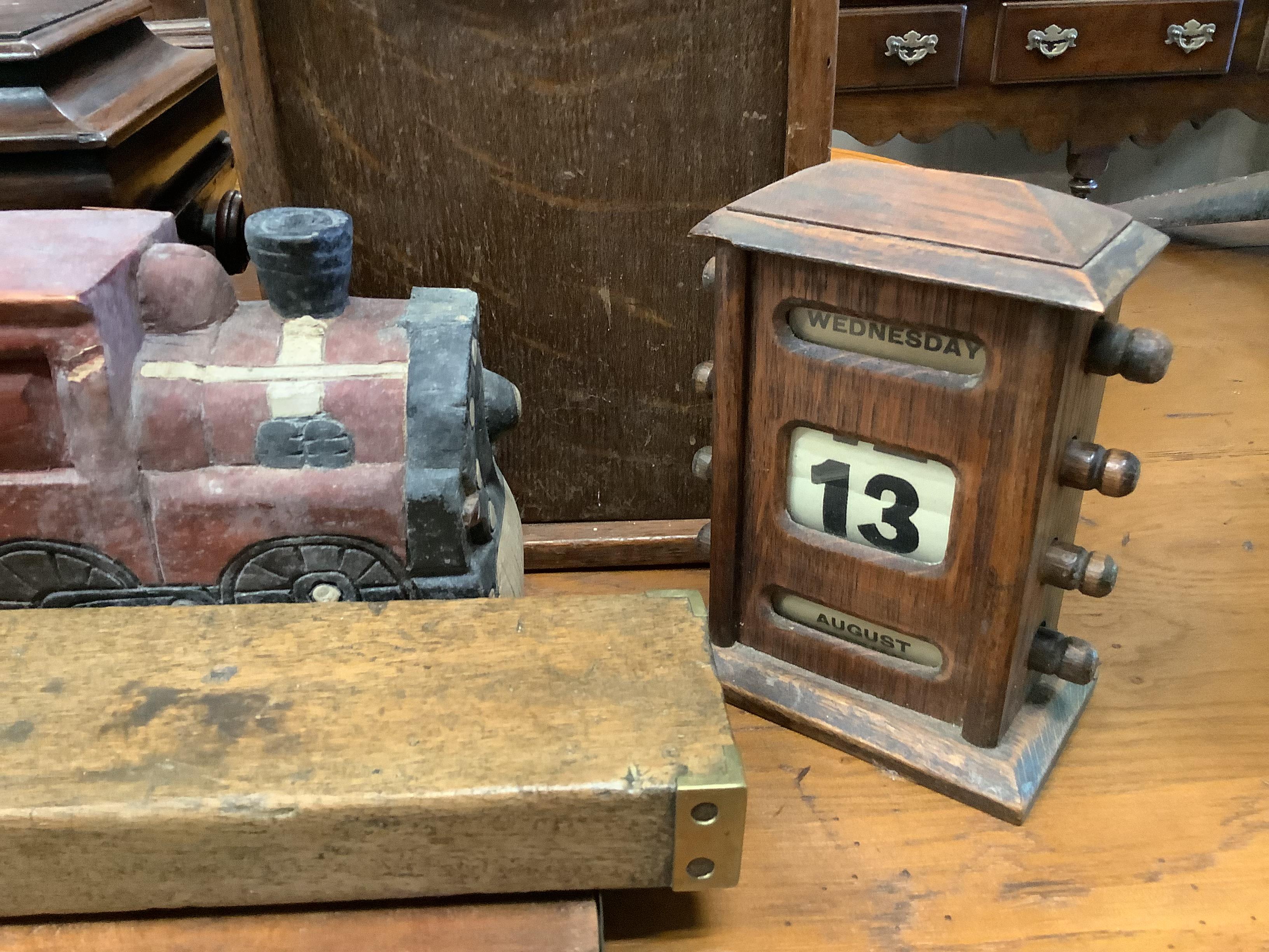 A Shove Ha'penny board, a Preston & Sons brass-mounted spirit level, a Riley's billiards scoreboard - Image 3 of 4