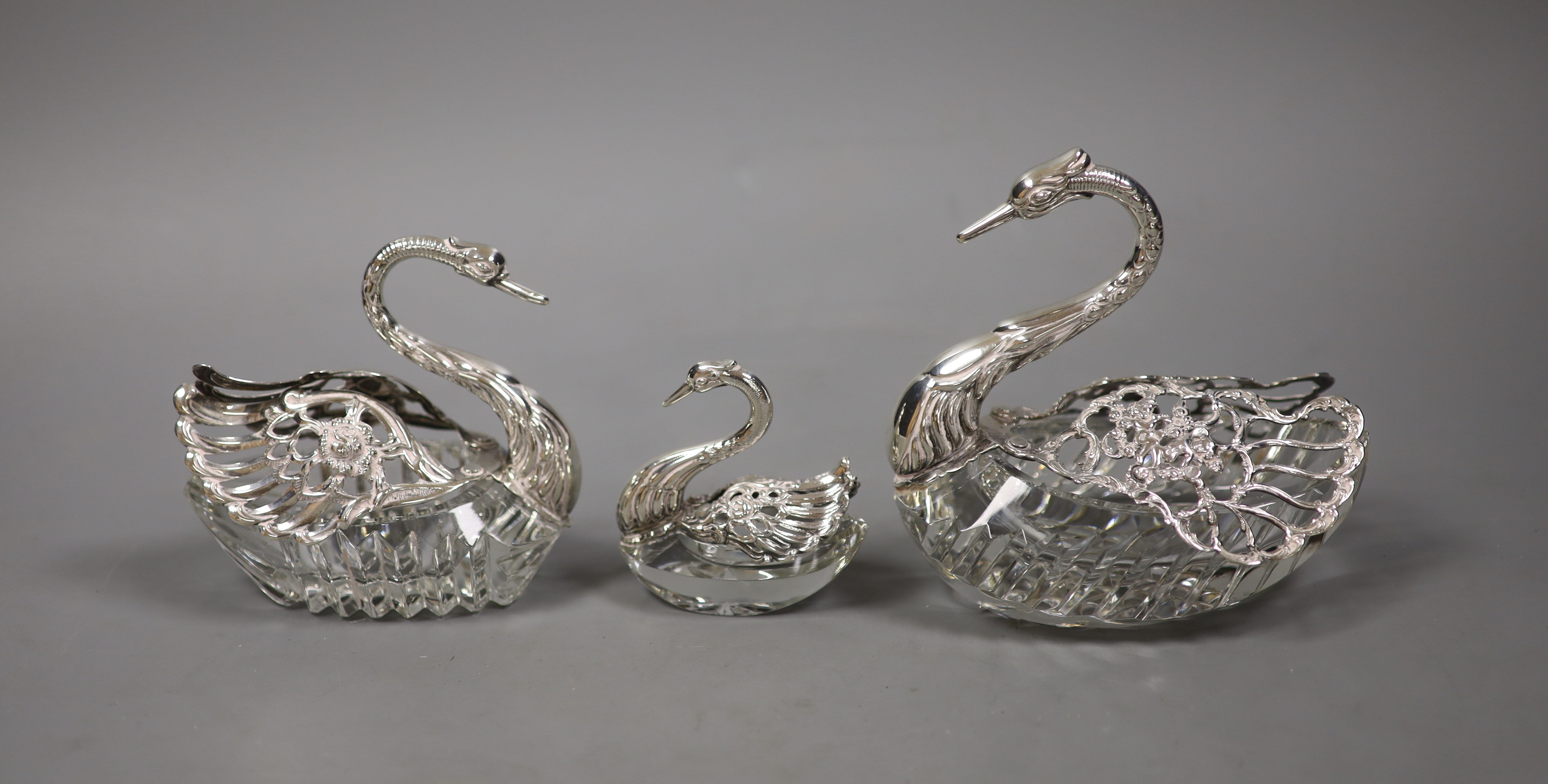 A set of three graduated silver-mounted cut glass 'swan' bon bon dishes, - Image 2 of 3
