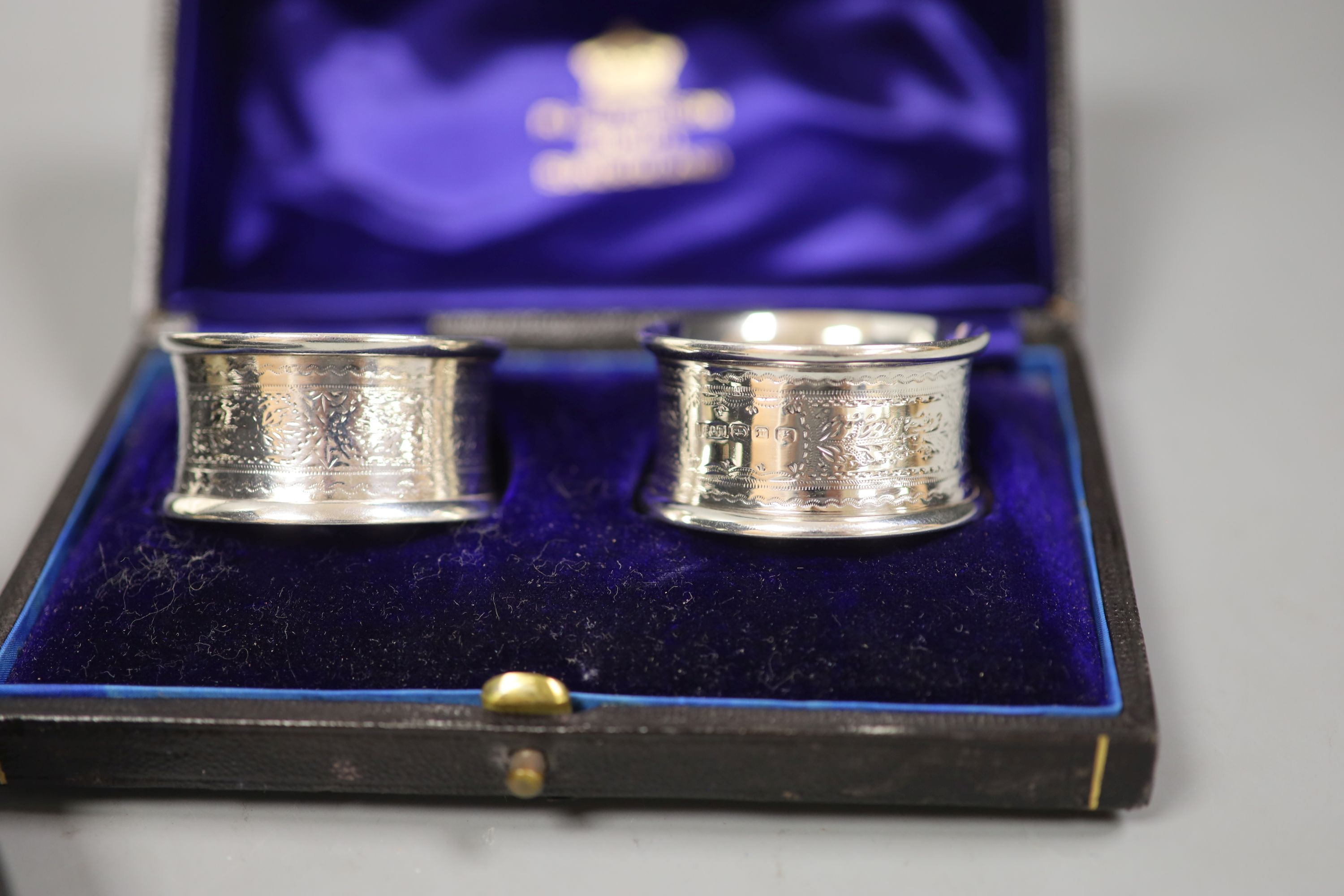 A cased christening dish with associated pusher and spoon, together with a cased pair of silver - Image 2 of 4
