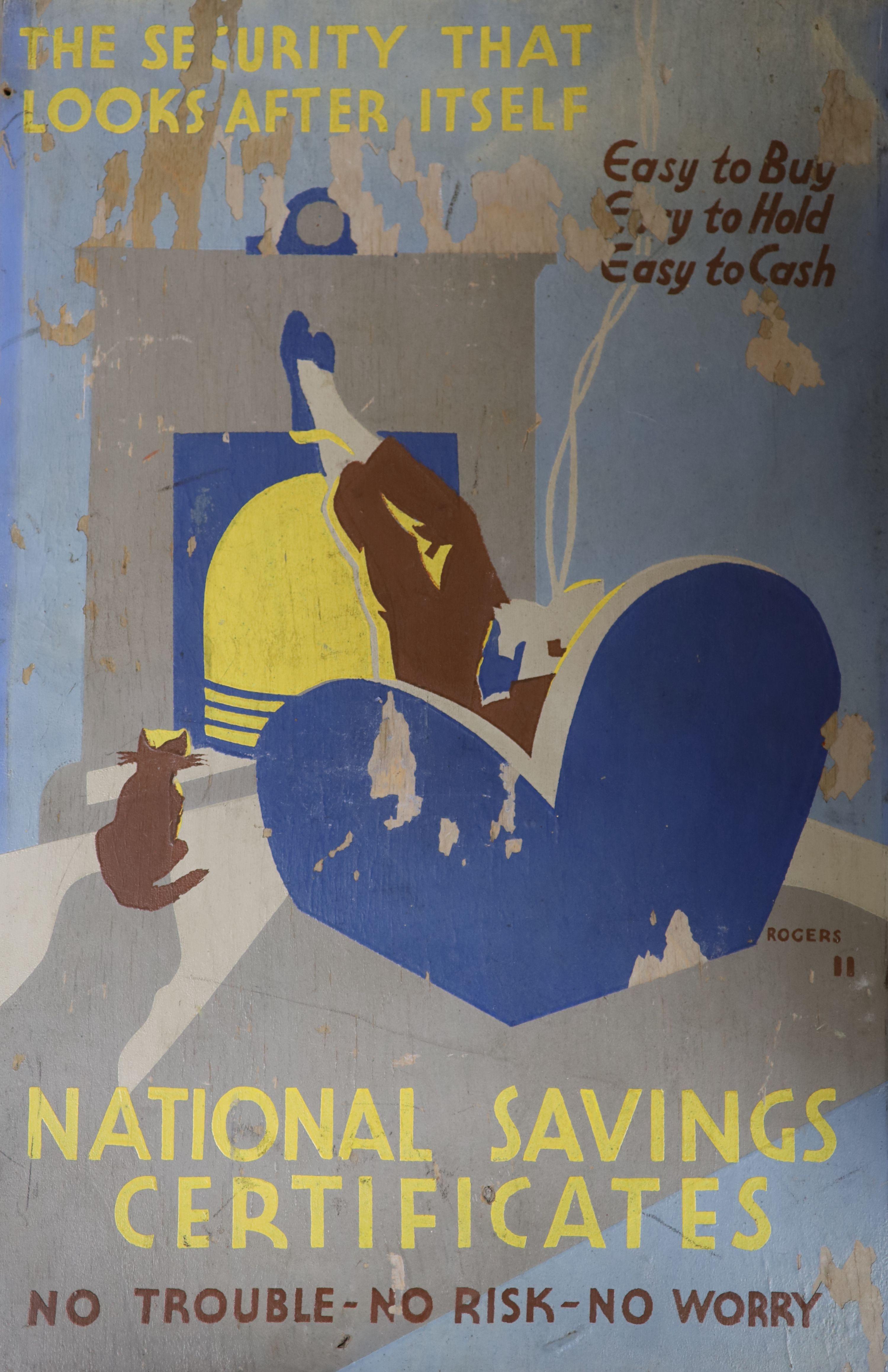 Rogers, oil on wooden panel, original artwork for National Savings Certificates poster, signed, 46