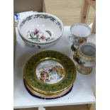 A set of six 'Mr Pickwick' wall plates and a quantity of other china plates, bowls, goblets, etc.