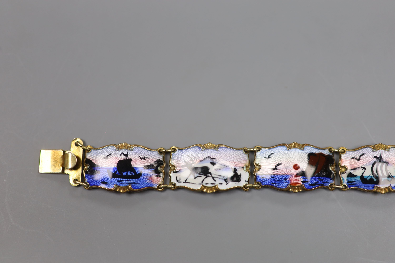 A 20th century Norwegian 830S and polychrome enamel panel set bracelet, 18.5cm,gross 28 grams. - Image 2 of 6