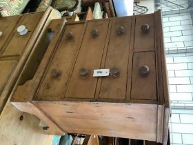 A small Victorian style pine chest, width 58cm, depth 39cm, height 65cm
