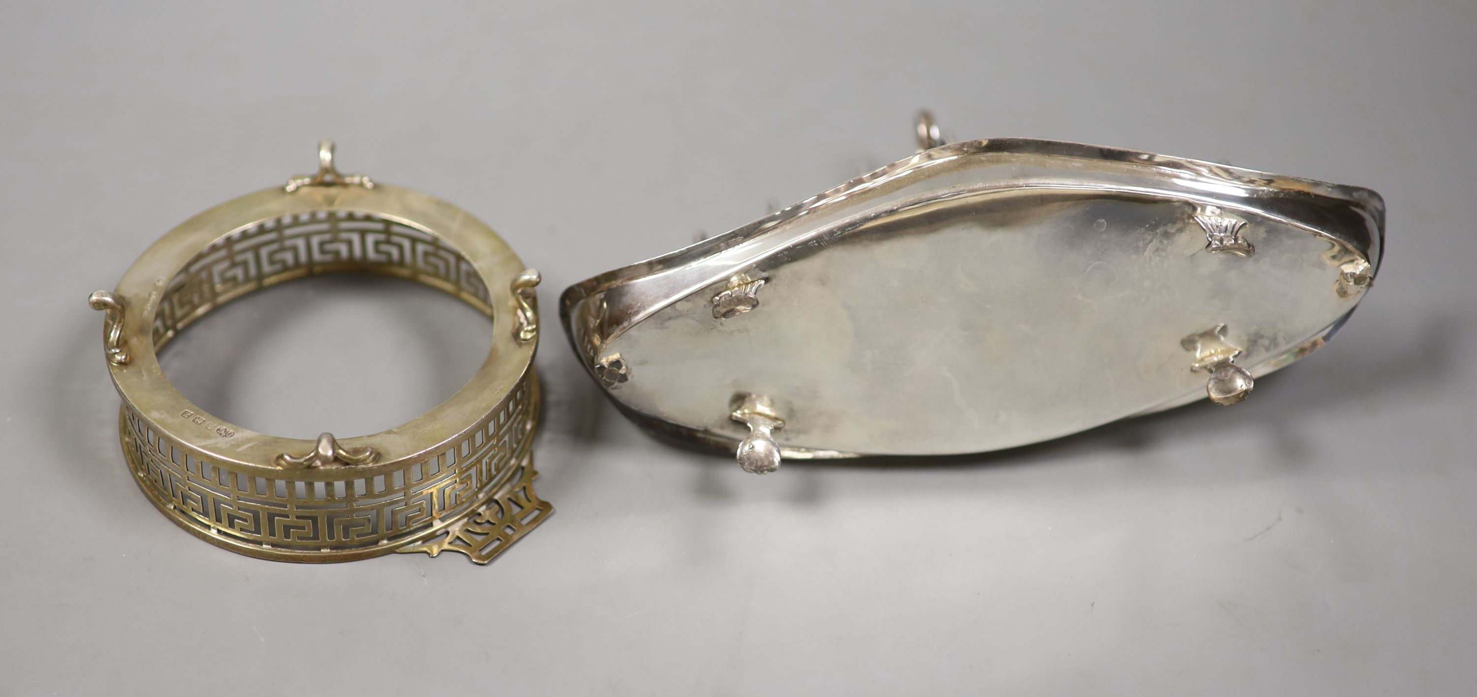 A late Victorian silver seven bar toastrack, with shaped ring handle, on paw feet, Josiah - Image 2 of 3